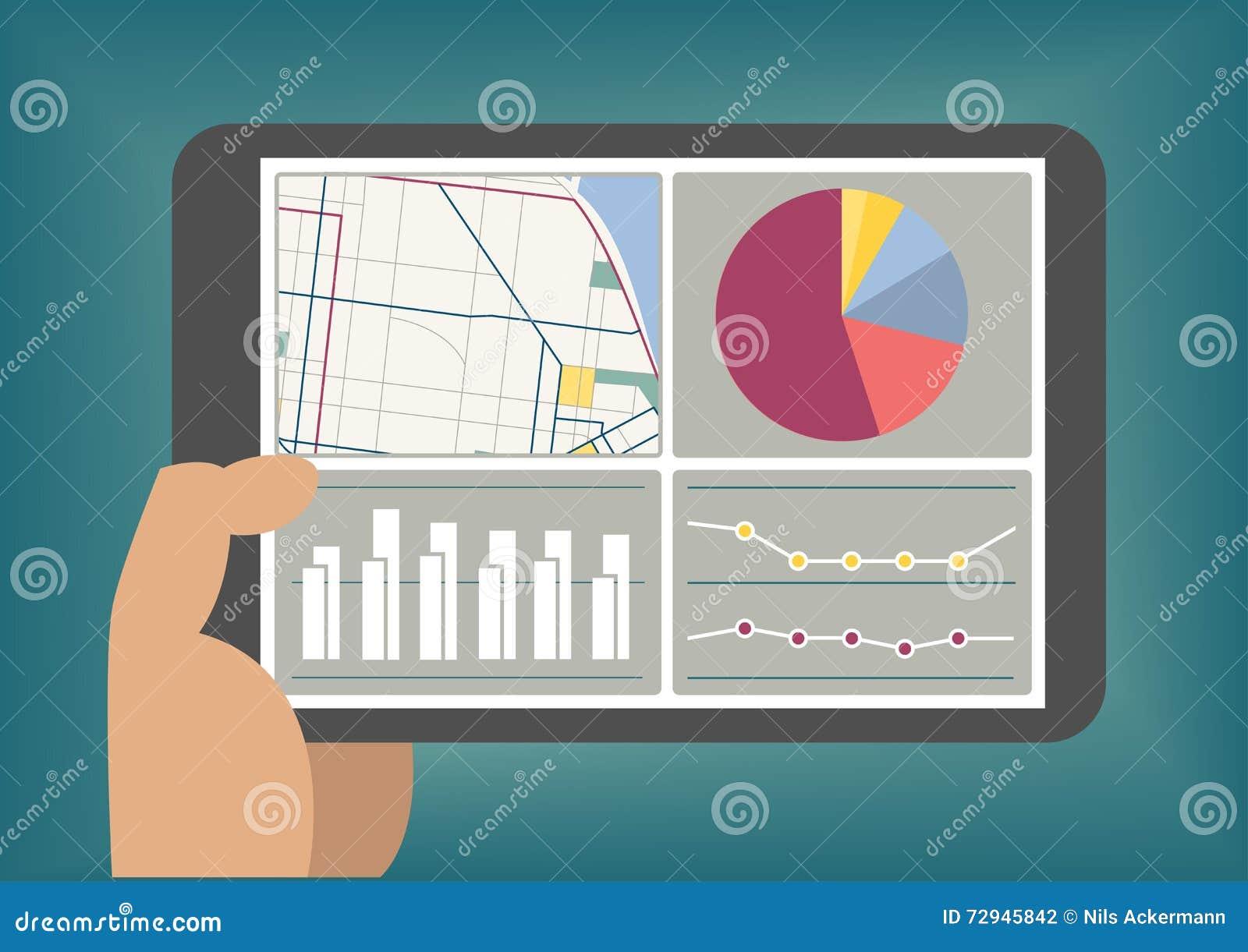 Le grand tableau de bord de données et d analytics montré sur le comprimé examinent à titre illustratif
