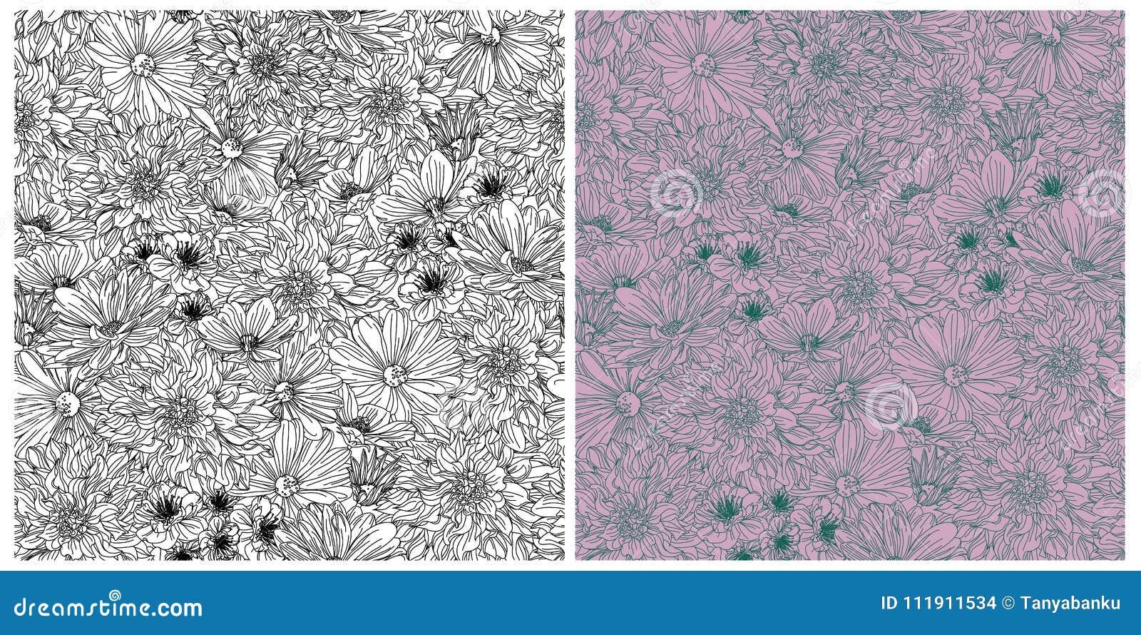 Papier Peint Noir Et Blanc Graphique le graphique fleurit le modèle sans couture, le double