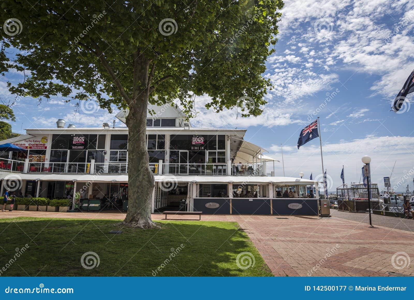 Le grill de l Australie du porc, Nelson Bay, NSW, Australie