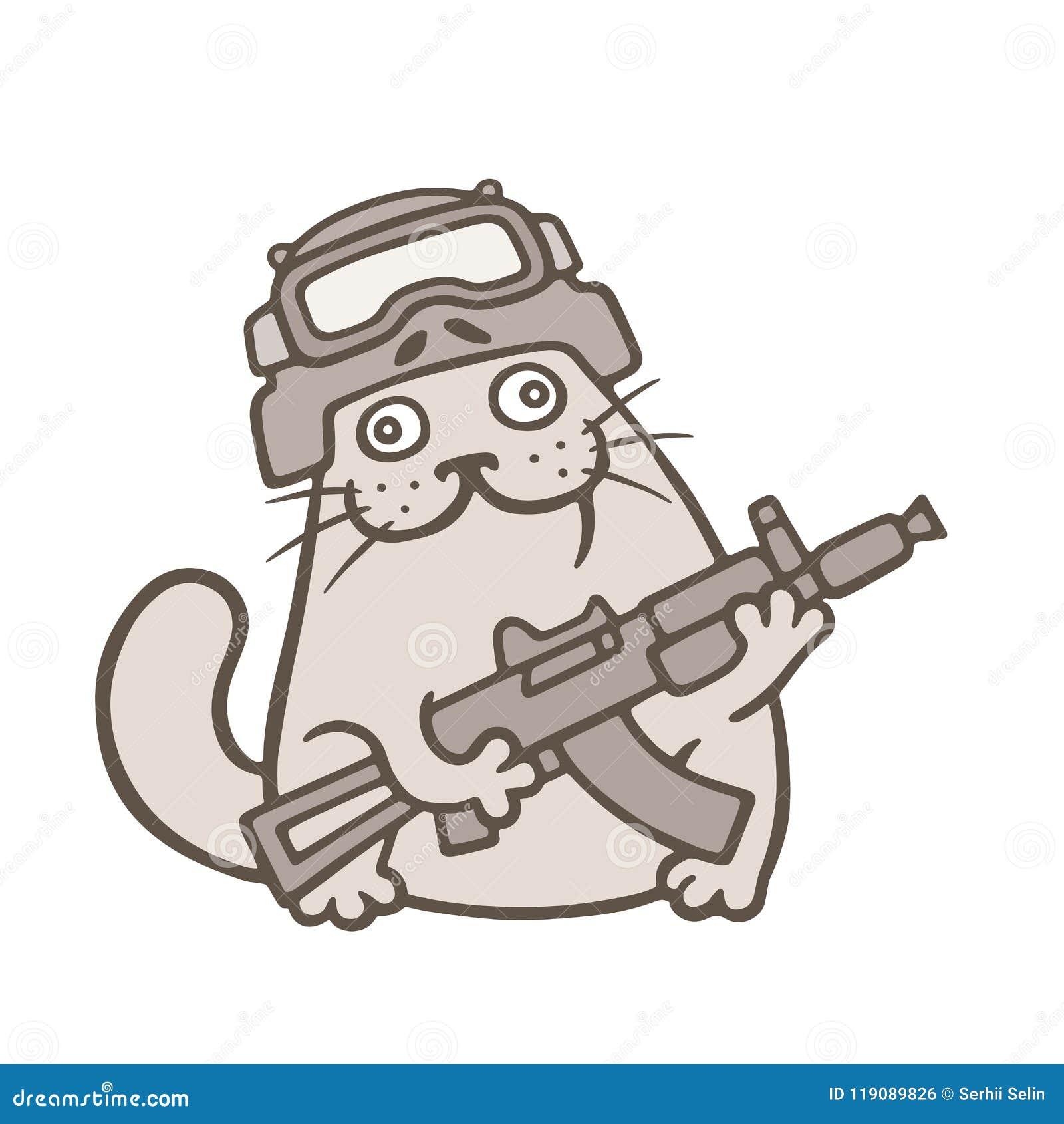 Le gros chat mignon est combattant de coup Illustration de vecteur
