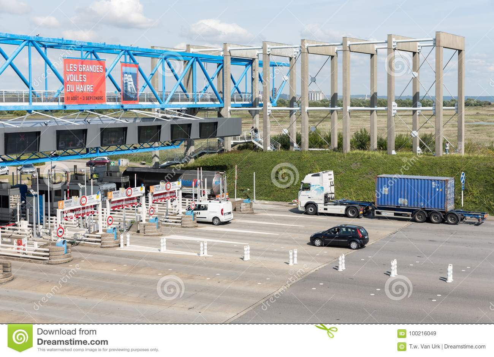french toll station for pont de normandie over river seine editorial stock image image of. Black Bedroom Furniture Sets. Home Design Ideas