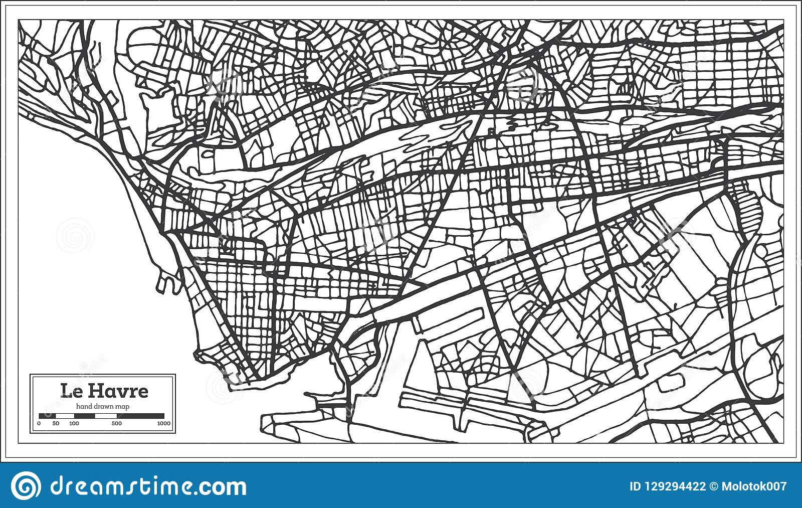 Le Havre France City Map In Retro Style Outline Map Stock Vector