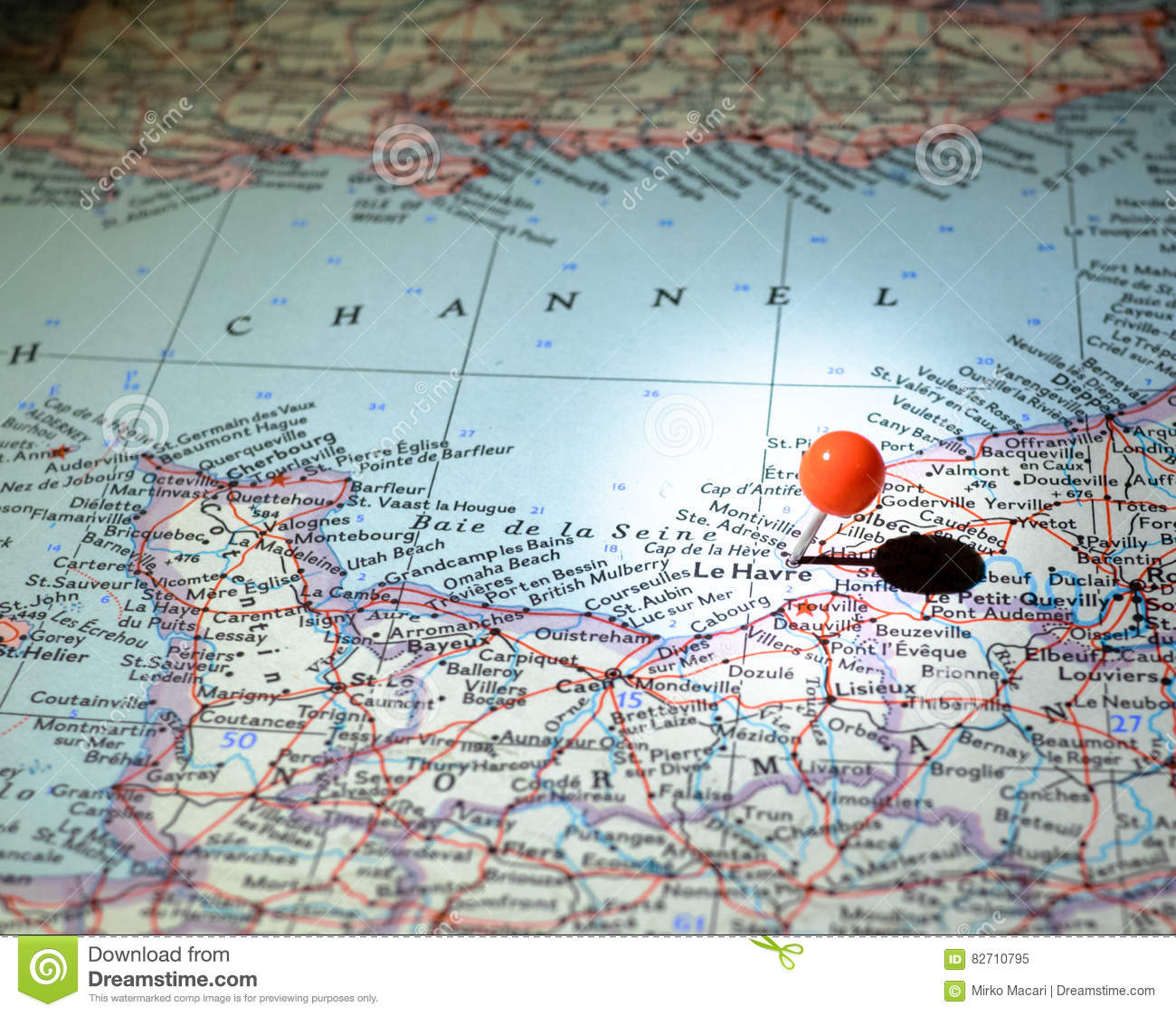 Le Havre France Pinned On The Route Map Stock Image Image Of