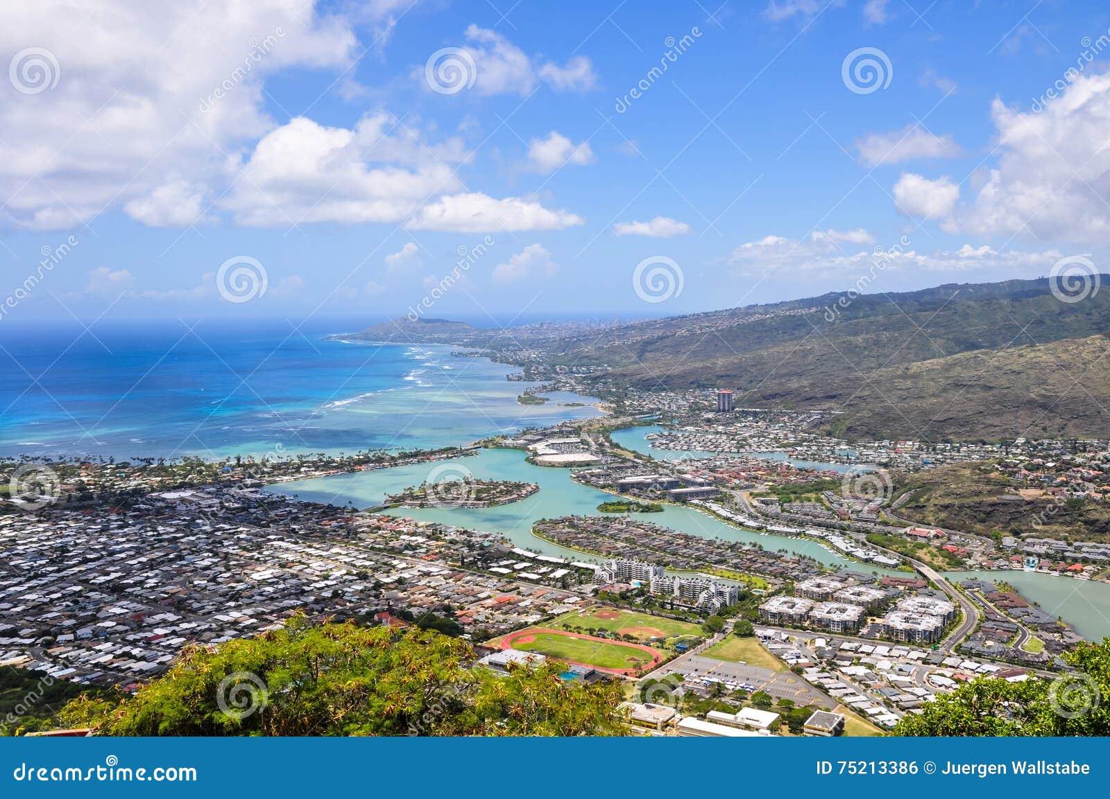 Contea Di Honolulu Hawaii le hawai kai visto da koko head - honolulu, oahu, hawai