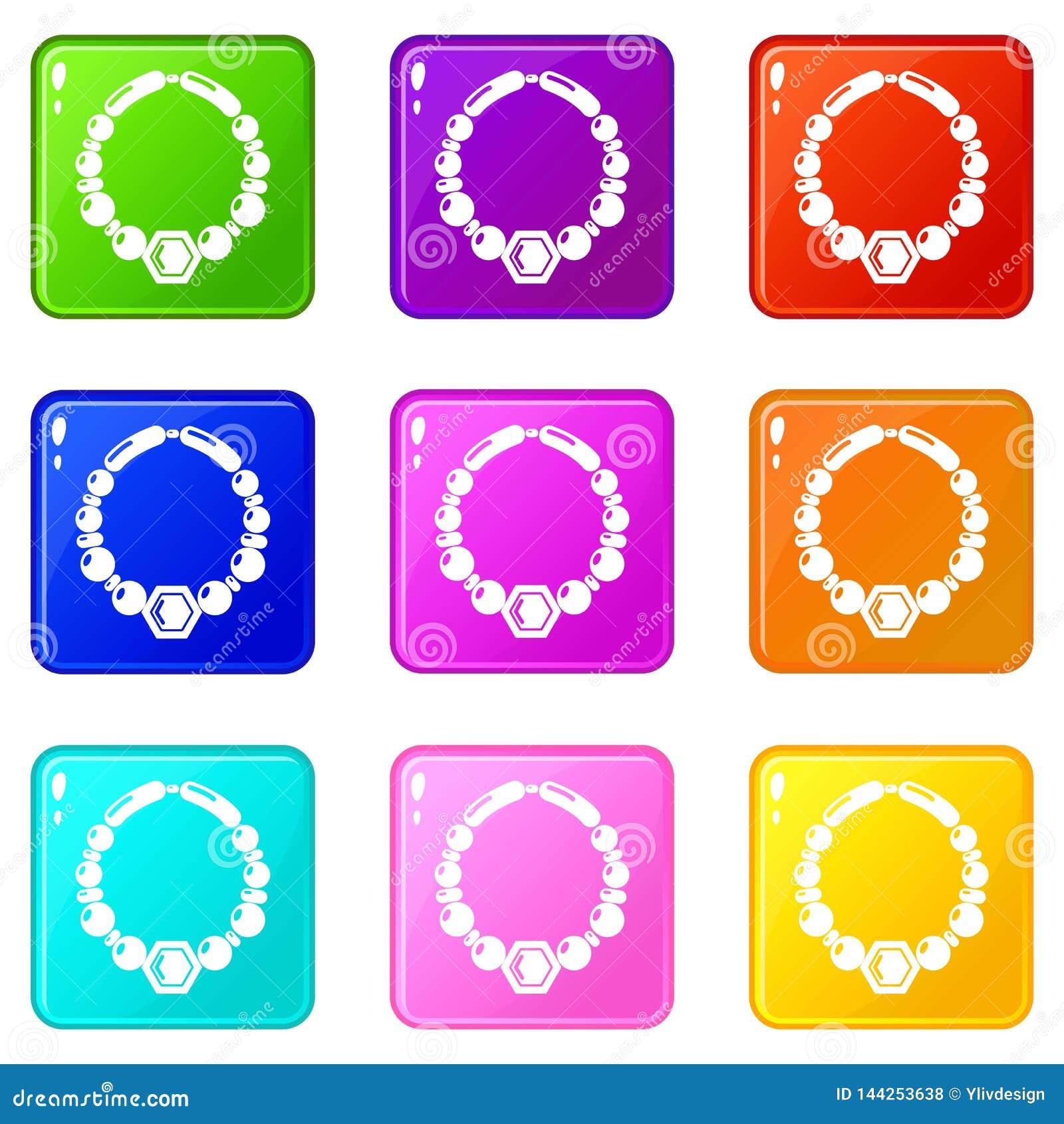 Le icone della collana della perla hanno messo una raccolta di 9 colori