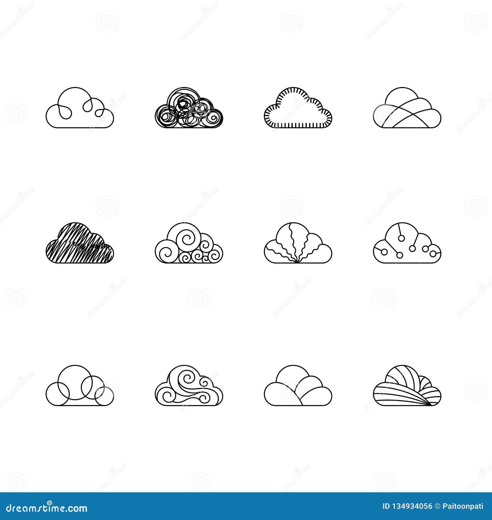 Le icone della nuvola descrivono il colore in bianco e nero dell illustrazione di progettazione di insieme del colpo isolate su f