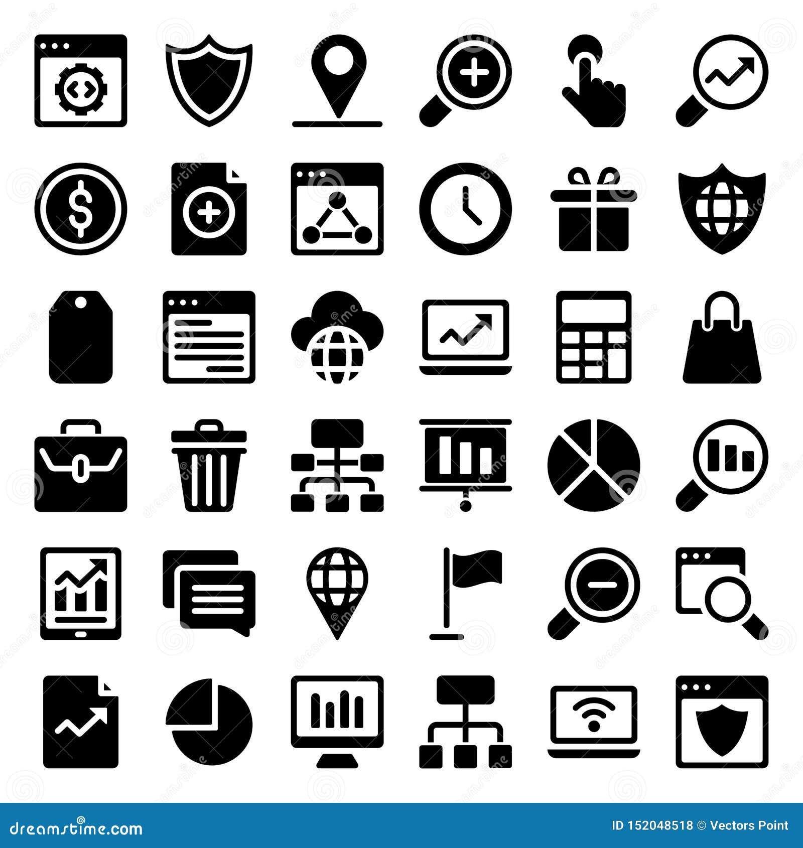 Le icone di glifo di web imballano