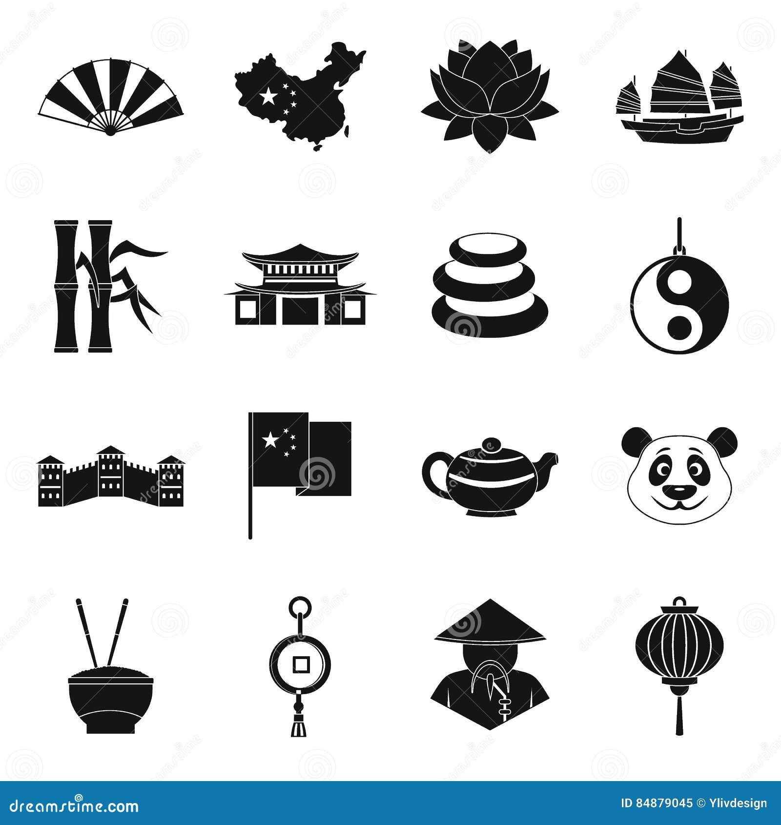 Le icone di simboli di viaggio della Cina hanno messo, stile semplice