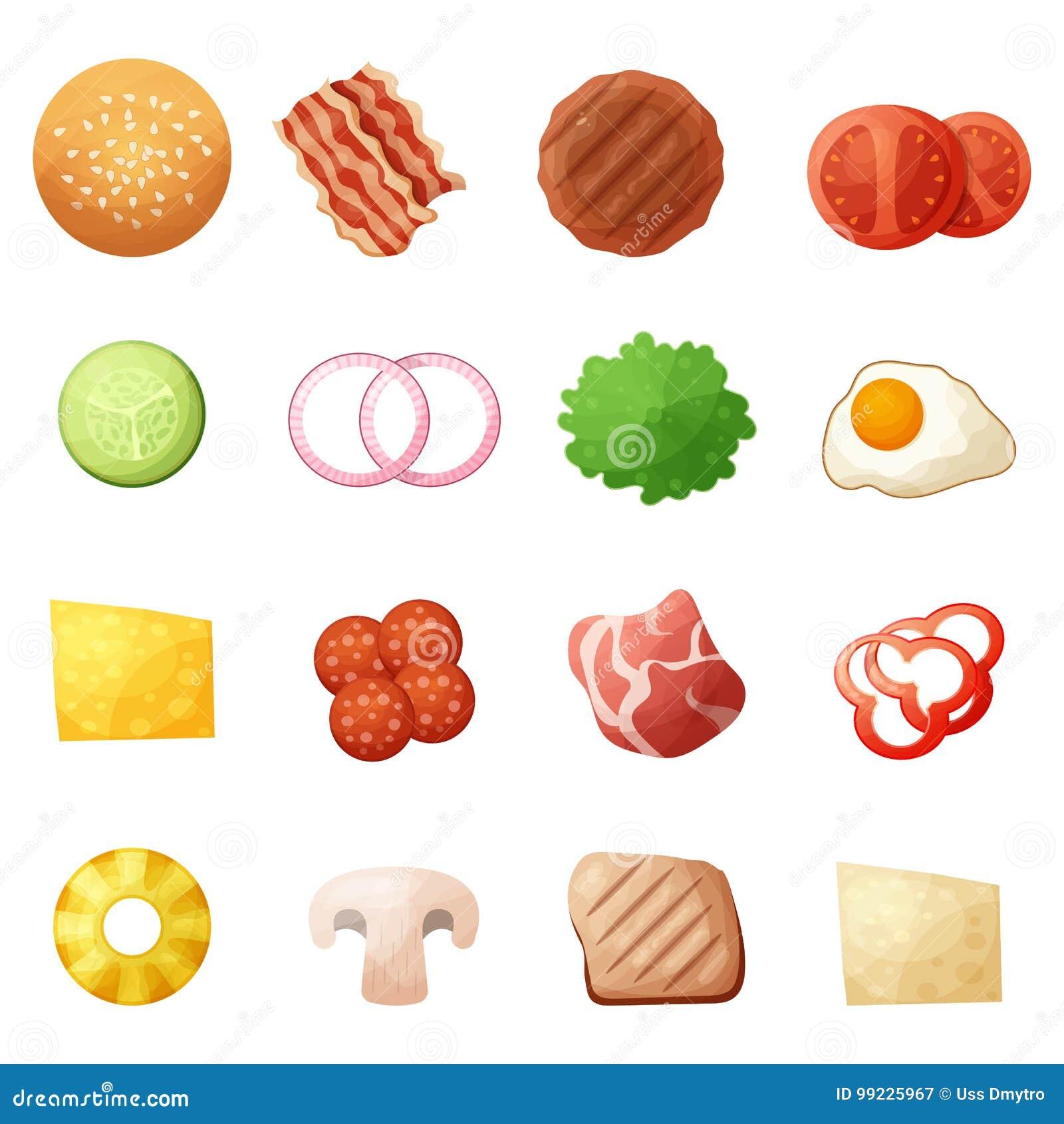 Le icone di vista superiore degli ingredienti dell hamburger hanno messo, stile del fumetto