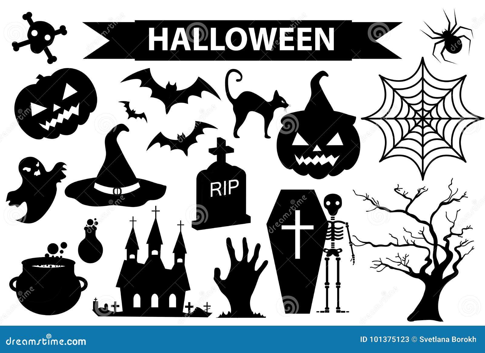 Le icone felici di Halloween hanno messo, stile nero della siluetta Isolato su priorità bassa bianca Raccolta di Halloween degli