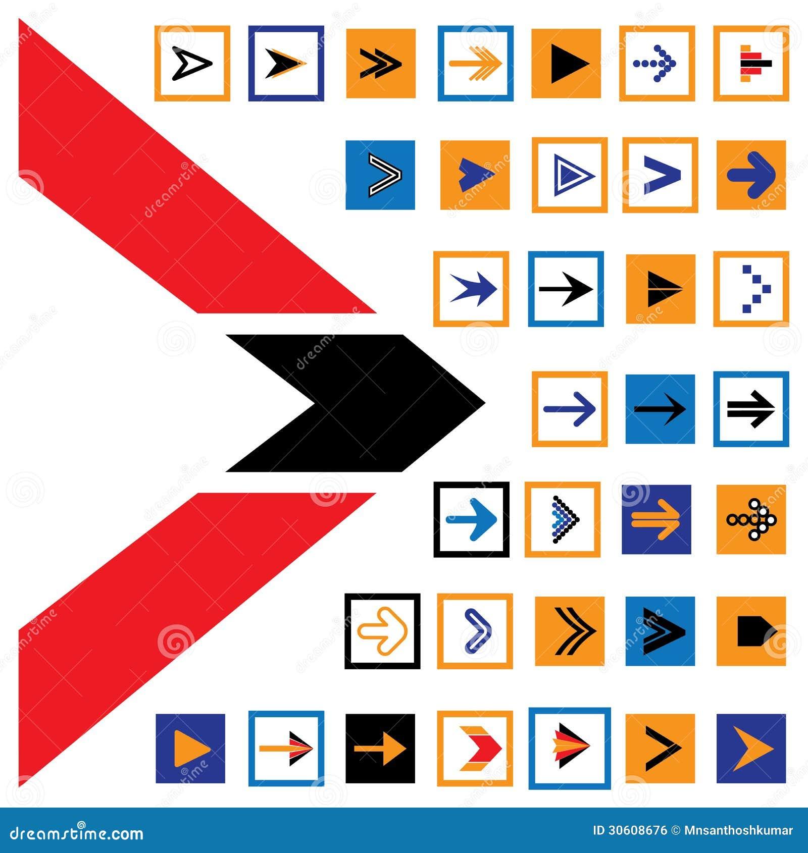 Le icone & i simboli astratti della freccia nei quadrati vector l illustrazione