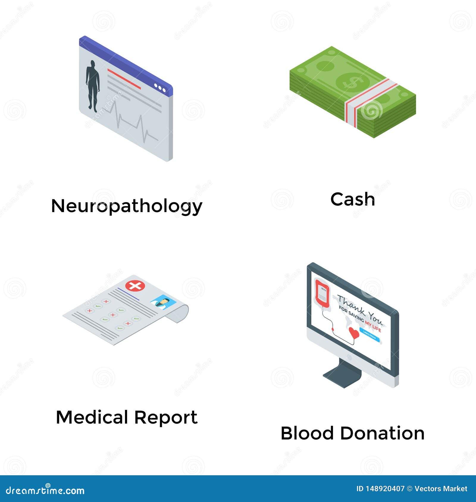 Le icone isometriche di assistenza medica imballano
