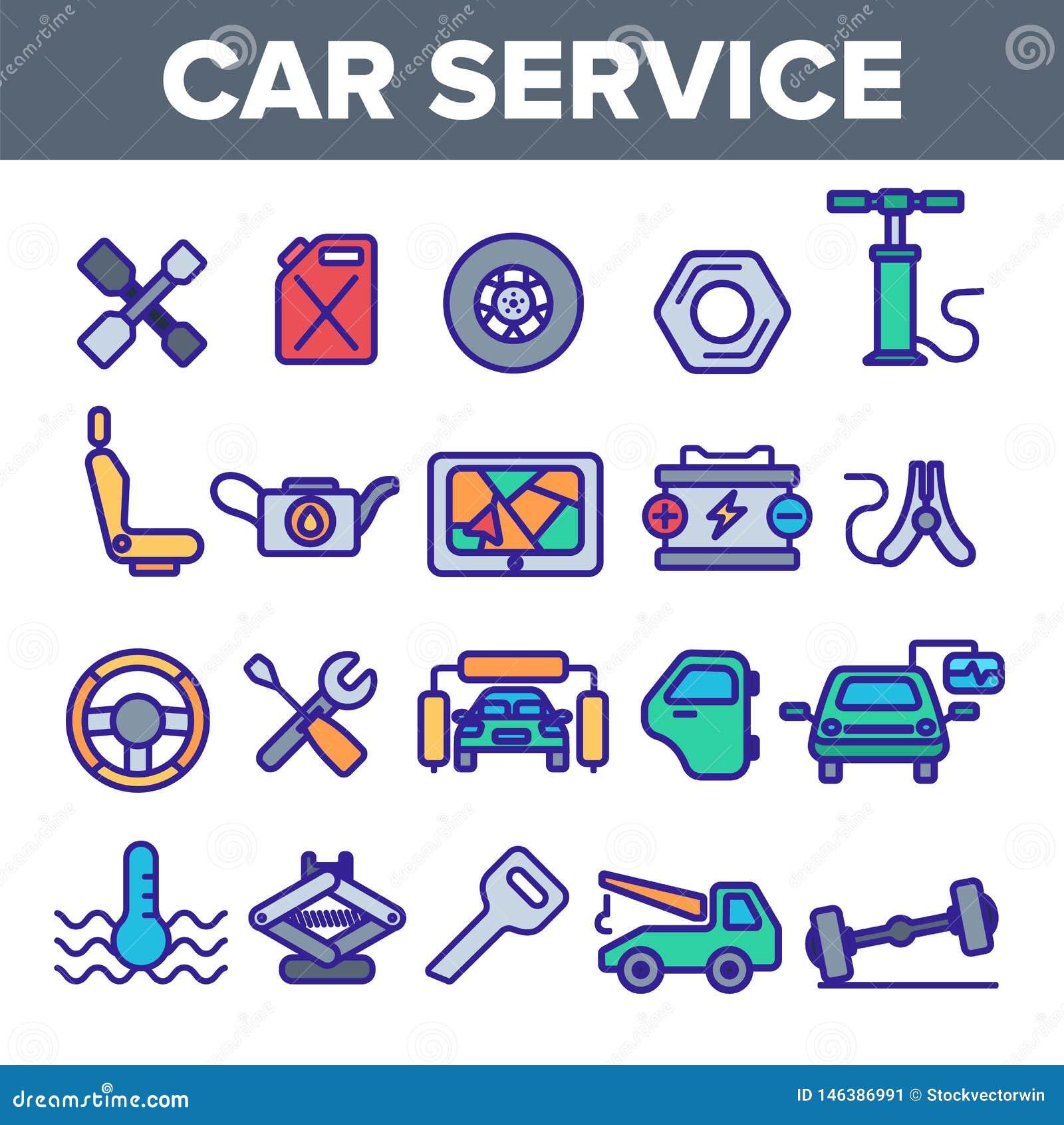 Le icone lineari di vettore di servizio dell automobile hanno messo il pittogramma sottile