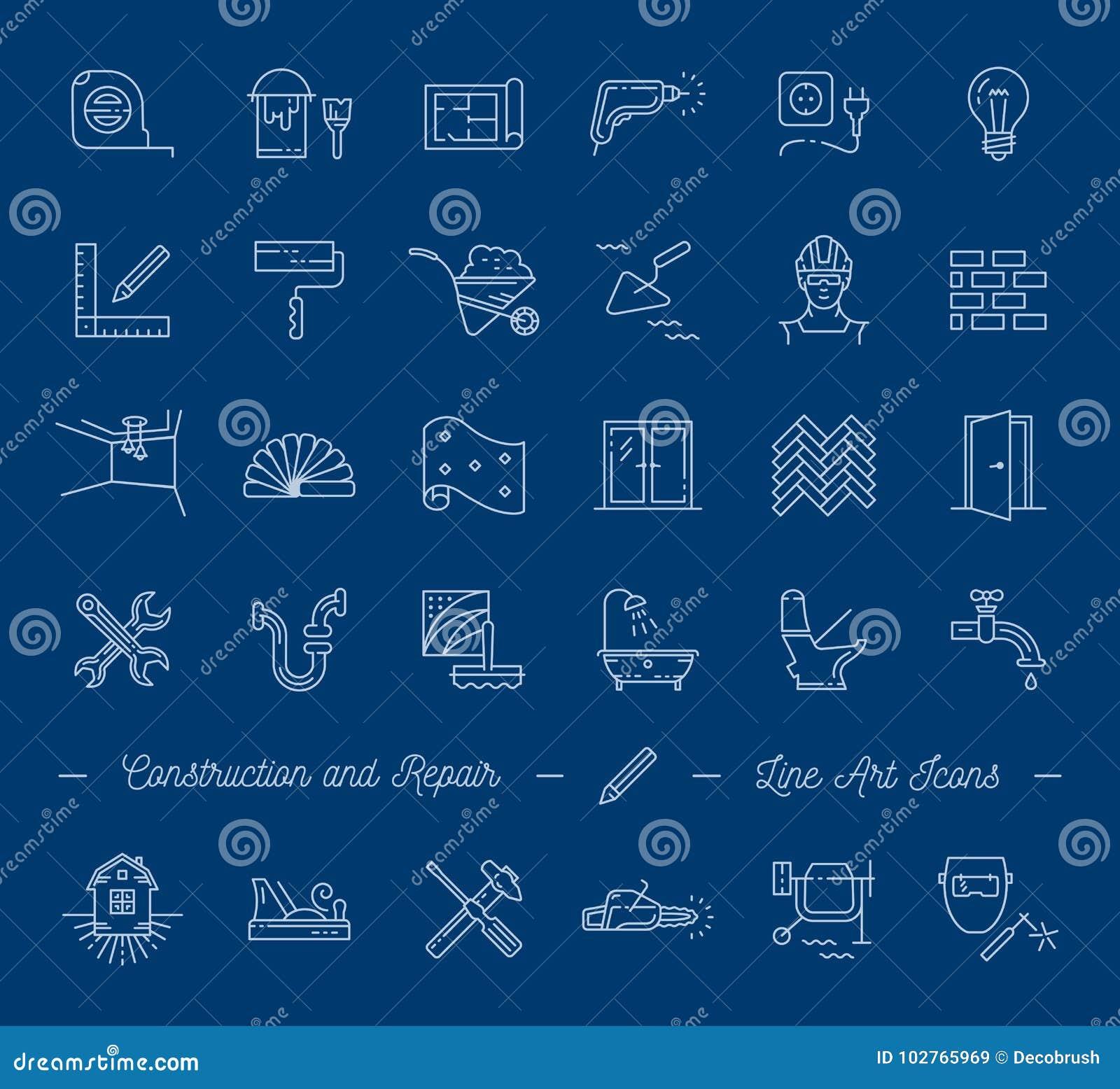 Le icone riparano, costruendo, simboli della costruzione Miglioramento domestico, impianto idraulico, strumenti di riparazione Li