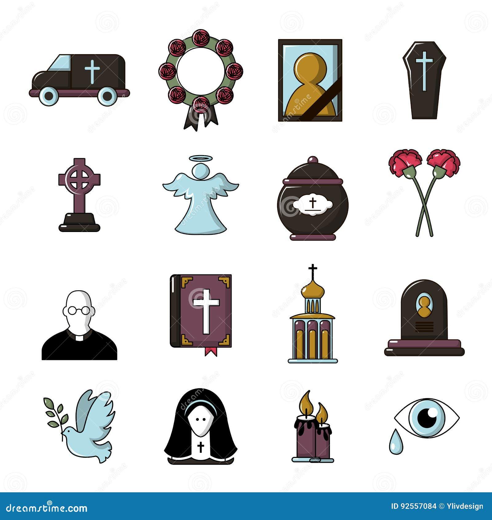 Le icone rituali funeree di servizio hanno messo, stile del fumetto
