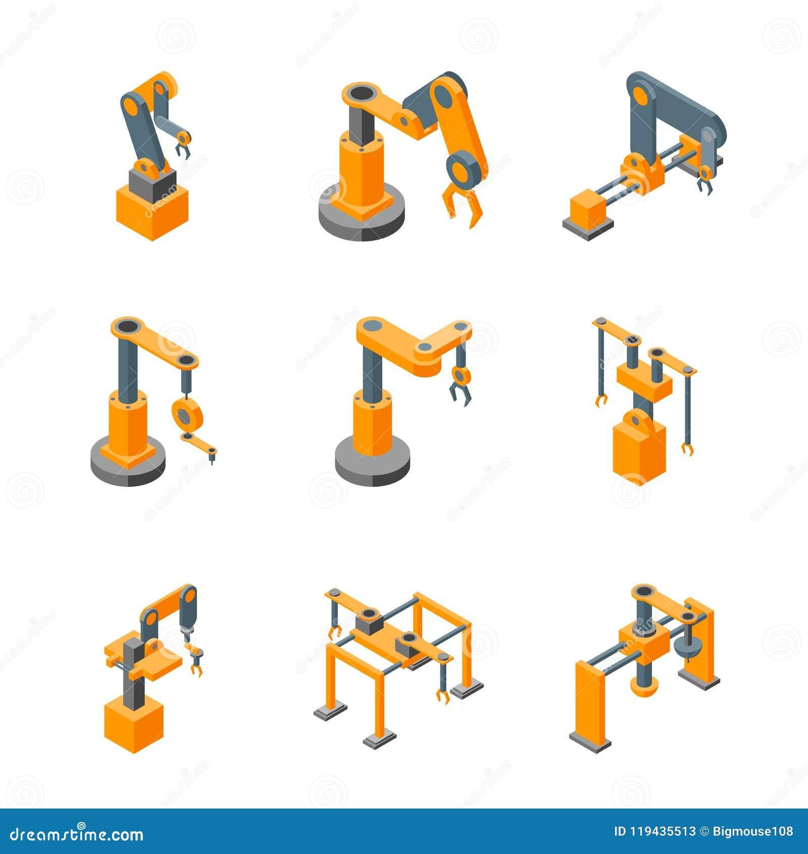 Le icone robot della mano delle macchine del trasportatore hanno fissato la vista isometrica Vettore