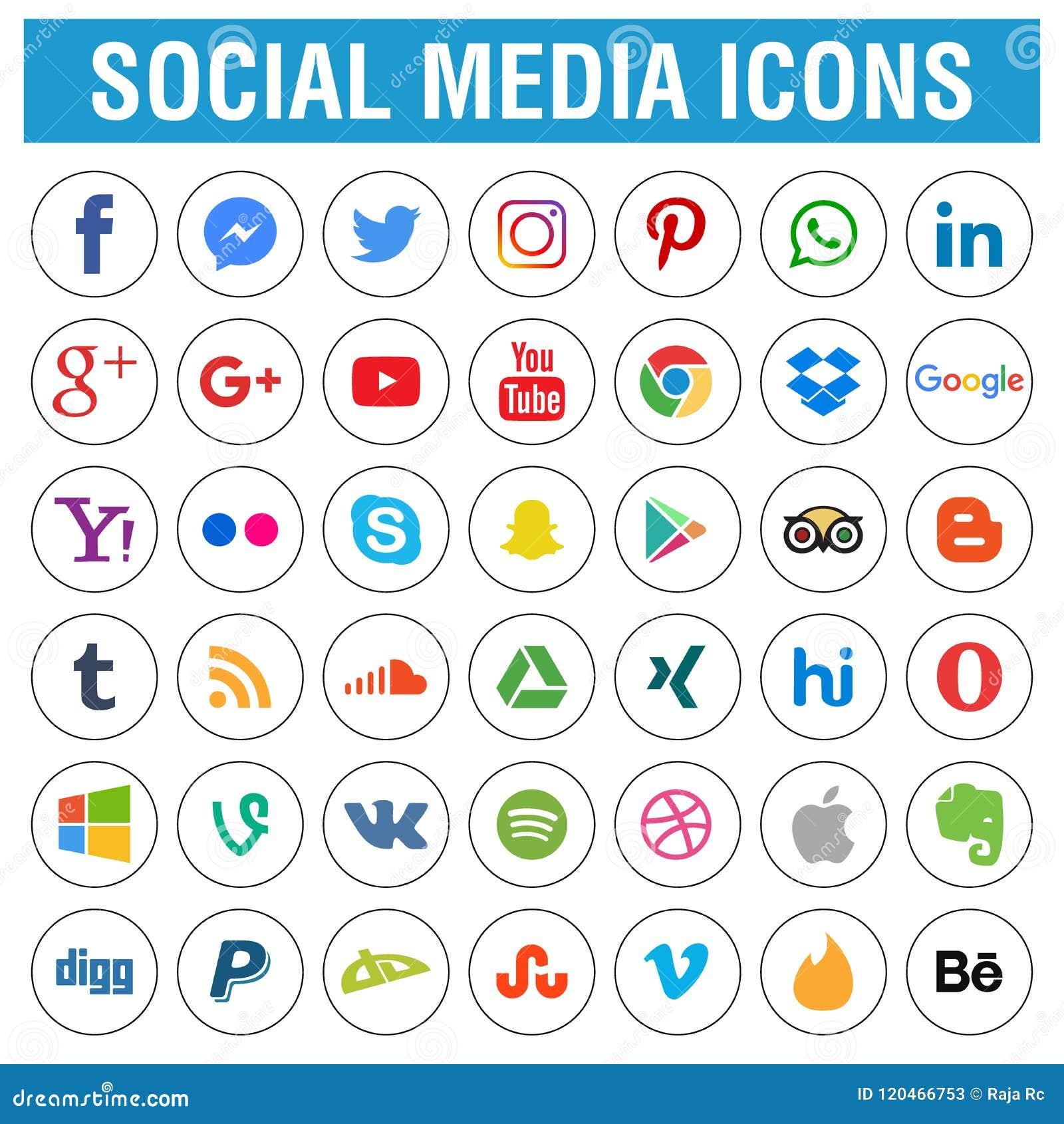 Le icone sociali di media imballano in tondo