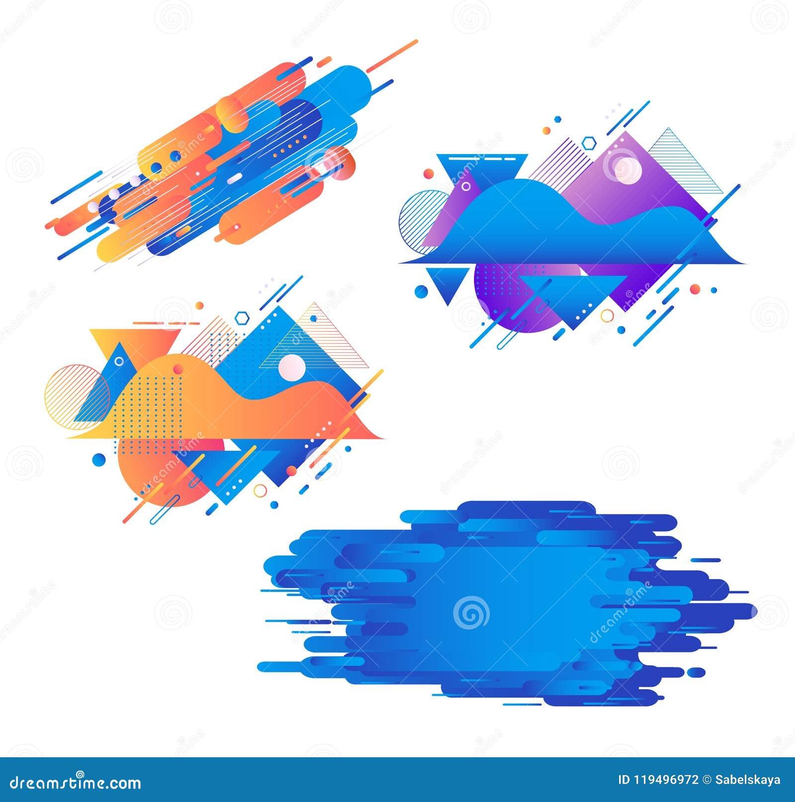 Le insegne geometriche di pendenza hanno messo - le bande fluide di forme dell estratto di colore con le strutture isolate su fon