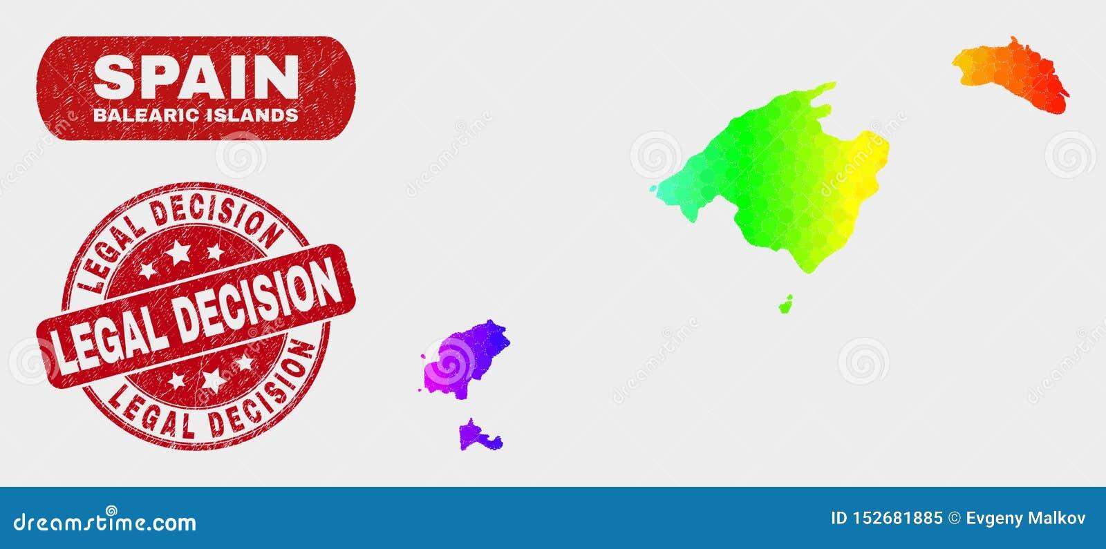 Le Isole Baleari colorate del mosaico tracciano ed affliggono la guarnizione del bollo di decisione legale