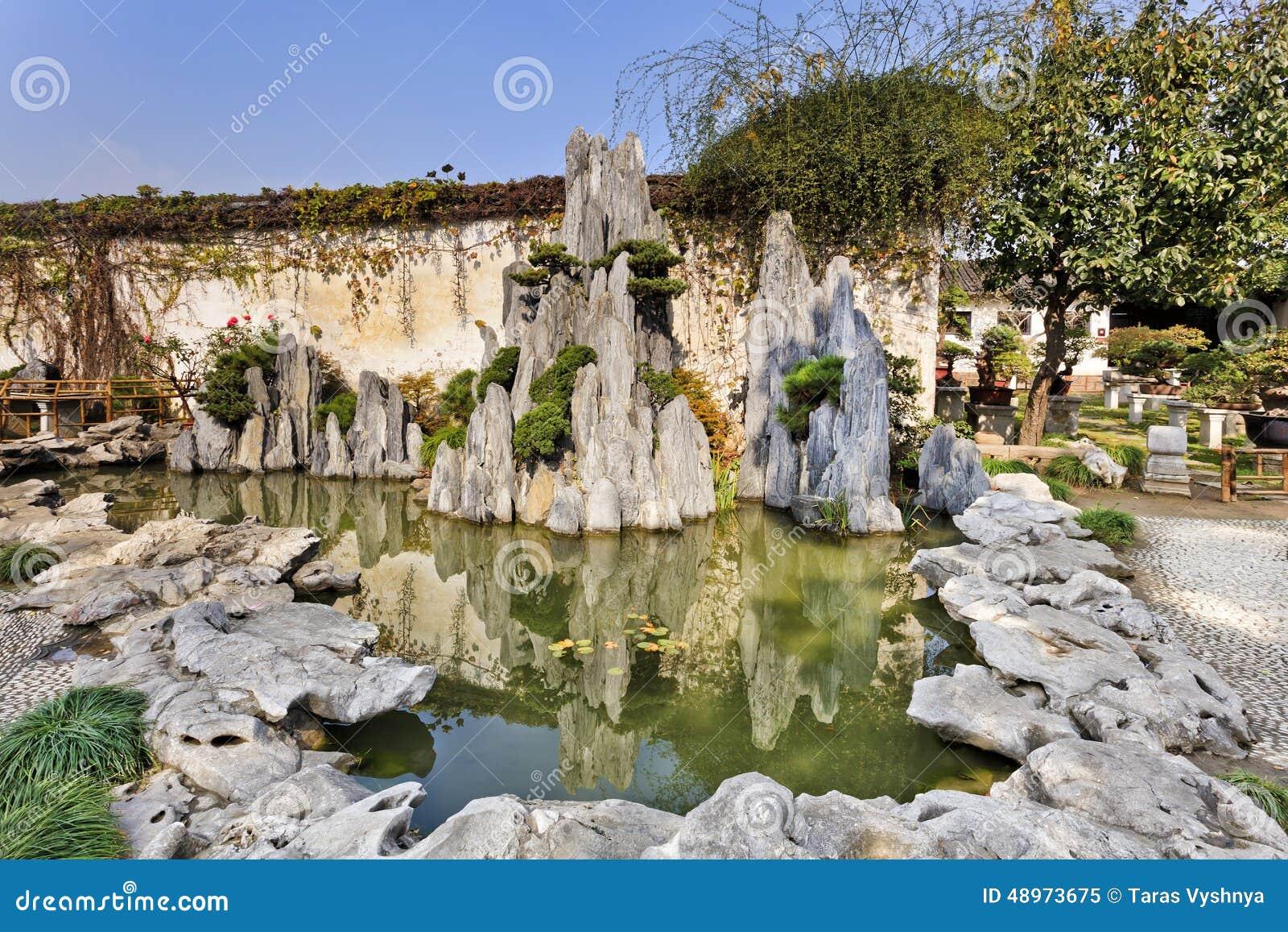 Le jardin de la chine nanjing bascule l 39 tang photo stock for Conception jardin chinois