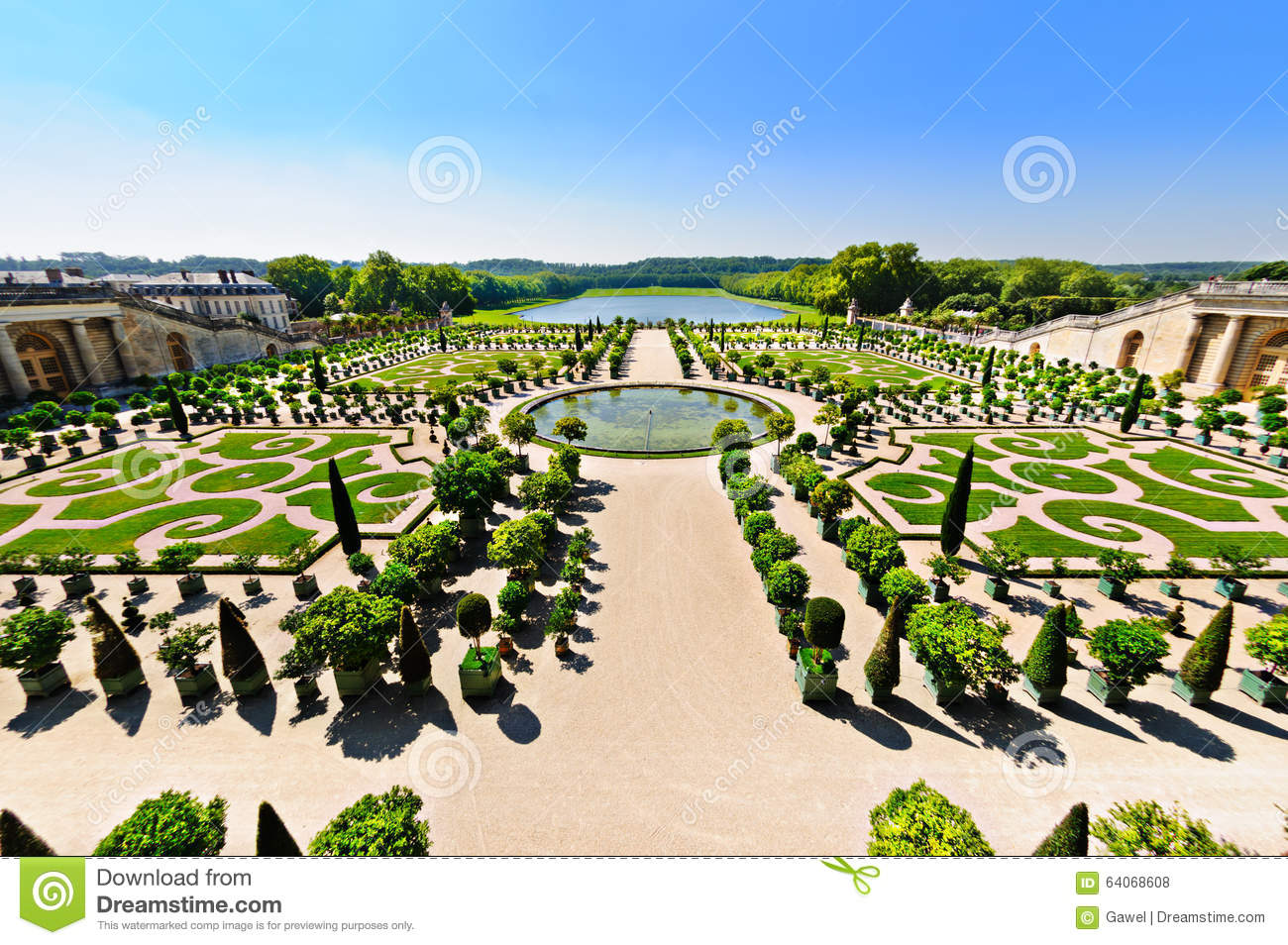 le jardin de versailles paris france photo stock image du horizontal vieux 64068608. Black Bedroom Furniture Sets. Home Design Ideas