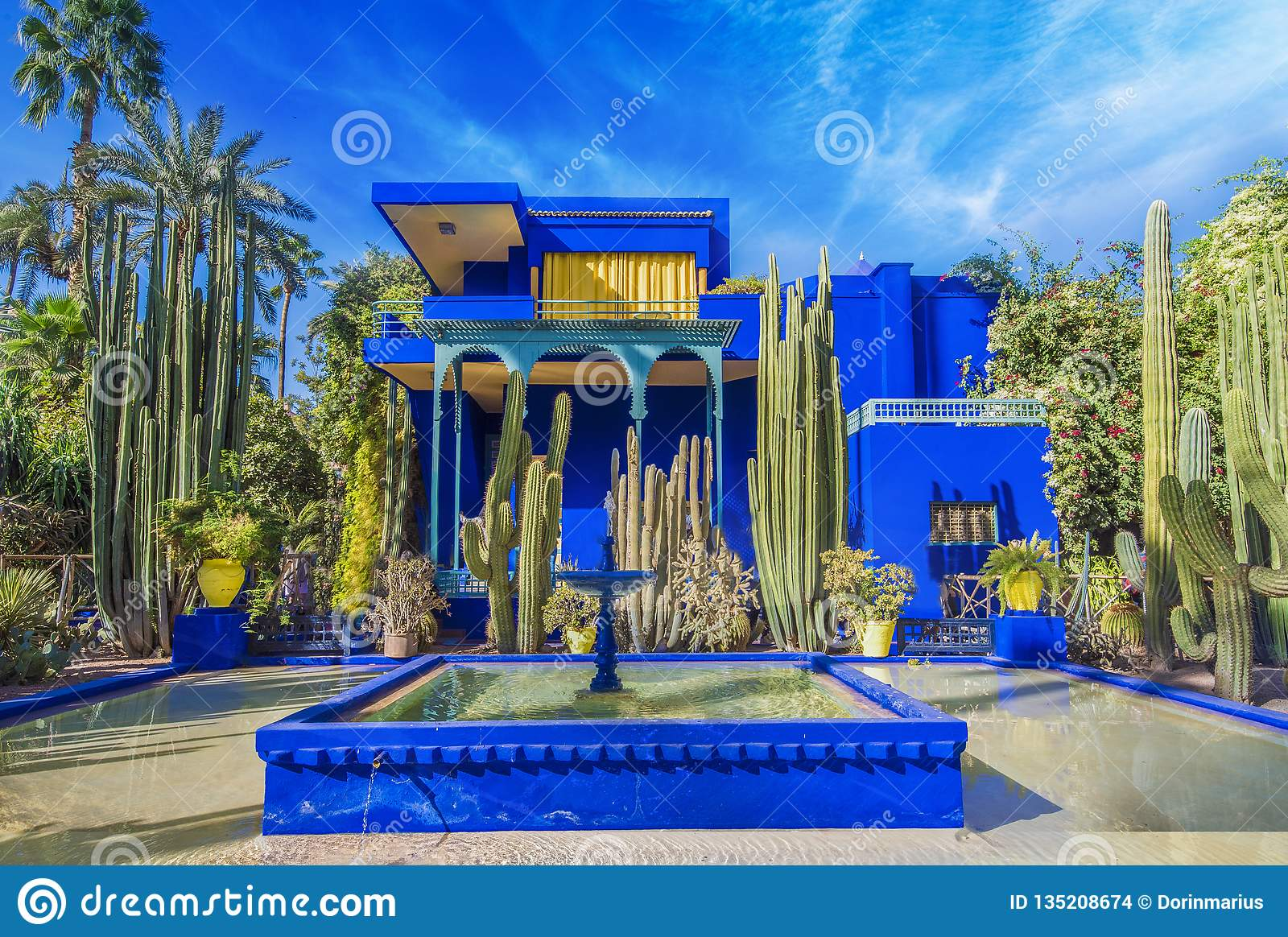 Le Jardin Majorelle Amazing Tropical Garden In Marrakech Stock