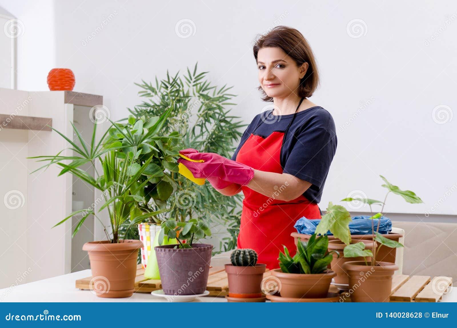 Le jardinier féminin avec des usines à l intérieur