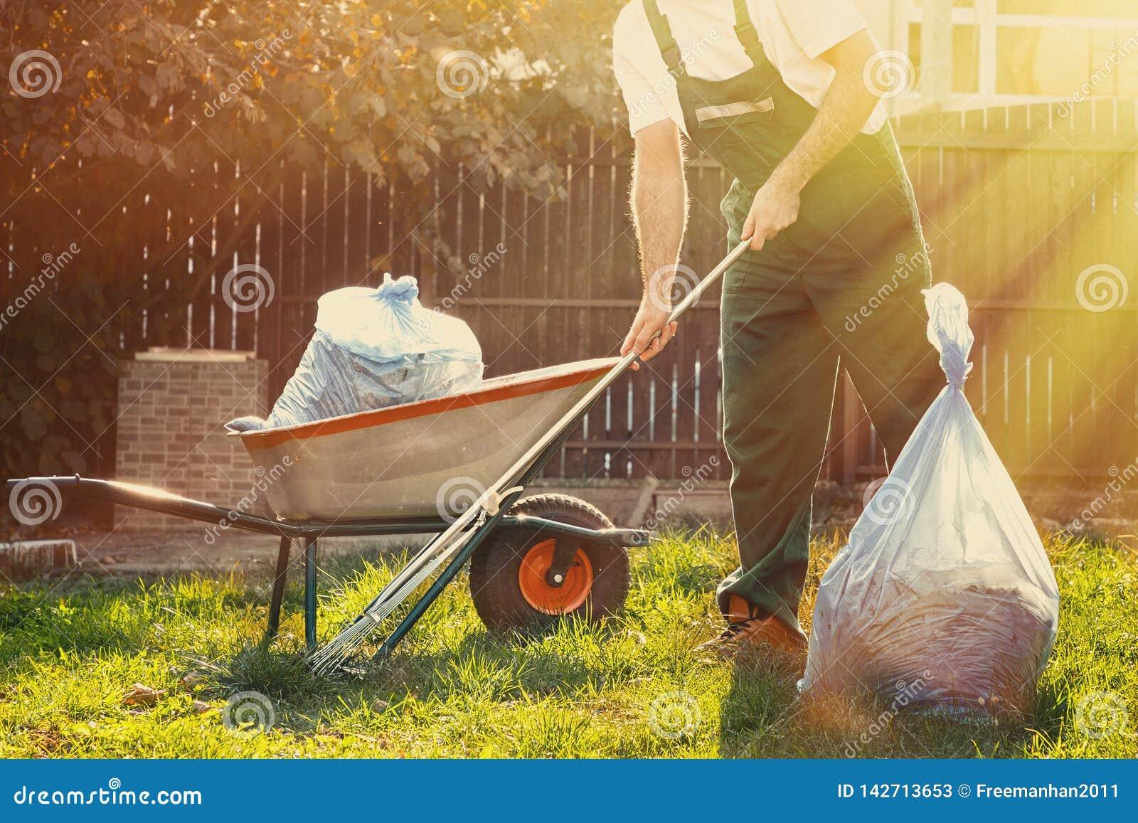 Le jardinier nettoie des feuilles dans la cour Près de lui est un chariot avec le compost que le soleil brille brillamment