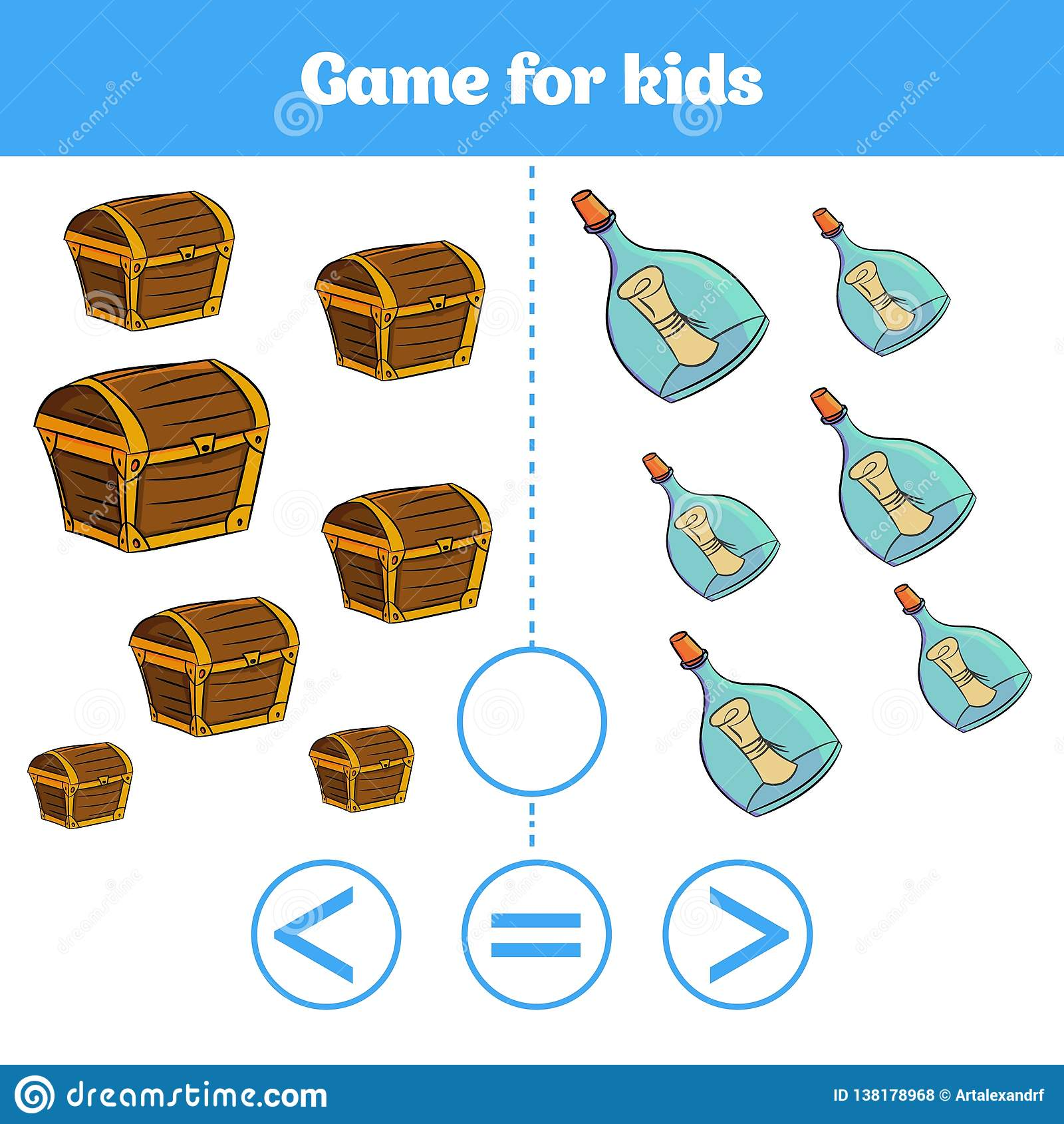 Le jeu de logique d éducation pour les enfants préscolaires choisissent la réponse correcte Plus, moins ou illustration égale de