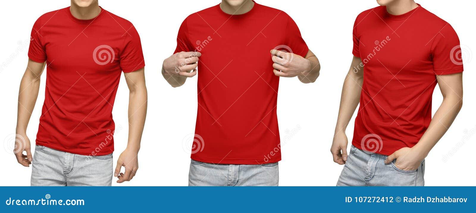 Le jeune mâle dans le T-shirt rouge vide, avant et vue arrière, a isolé le fond blanc Concevez le calibre et la maquette de T-shi