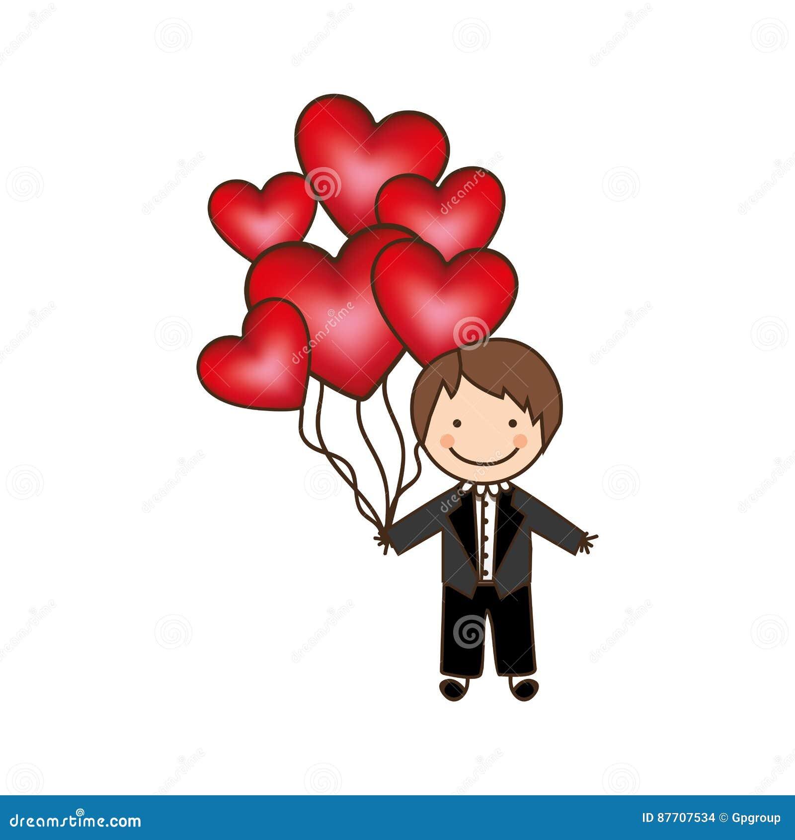 Le jeune marié avec le coeur rouge monte en ballon dans sa main