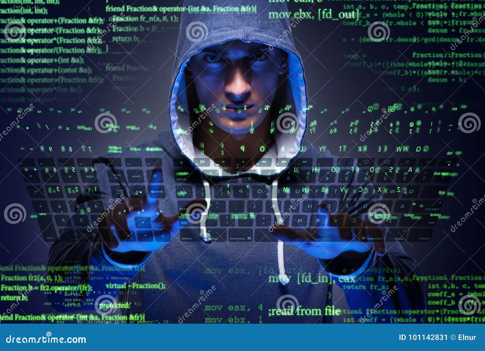 Le jeune pirate informatique dans le concept de sécurité de cyber