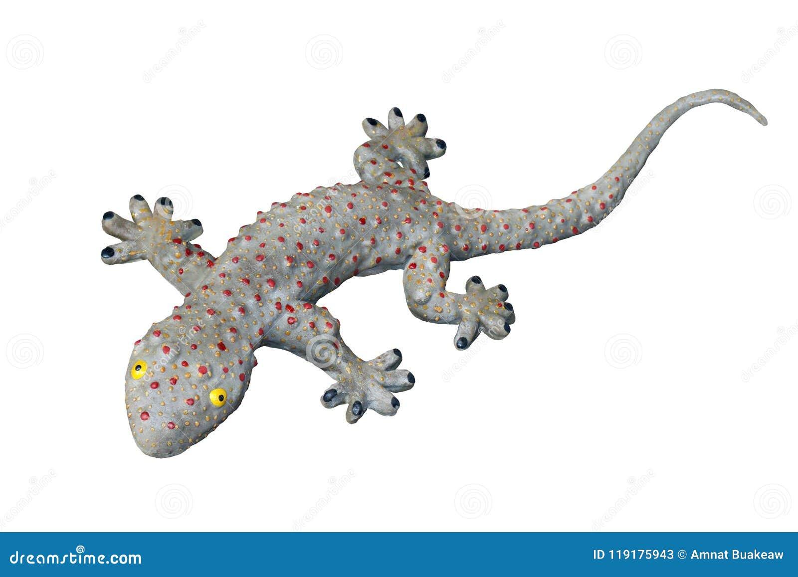 Le jouet de gecko, grand lézard impressionnant de gecko, gecko a isolé le fond blanc