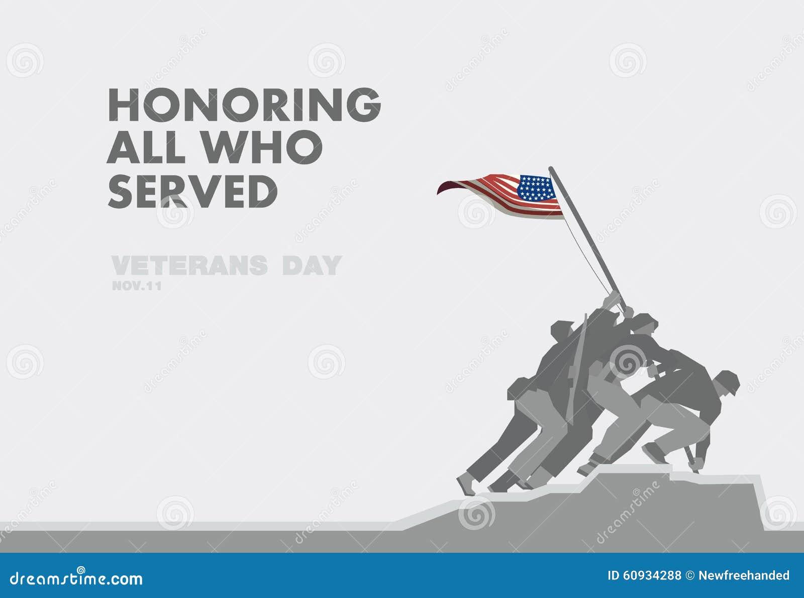 Le jour de vétérans d honneurs, le monument et le thème plat de drapeau conçoivent