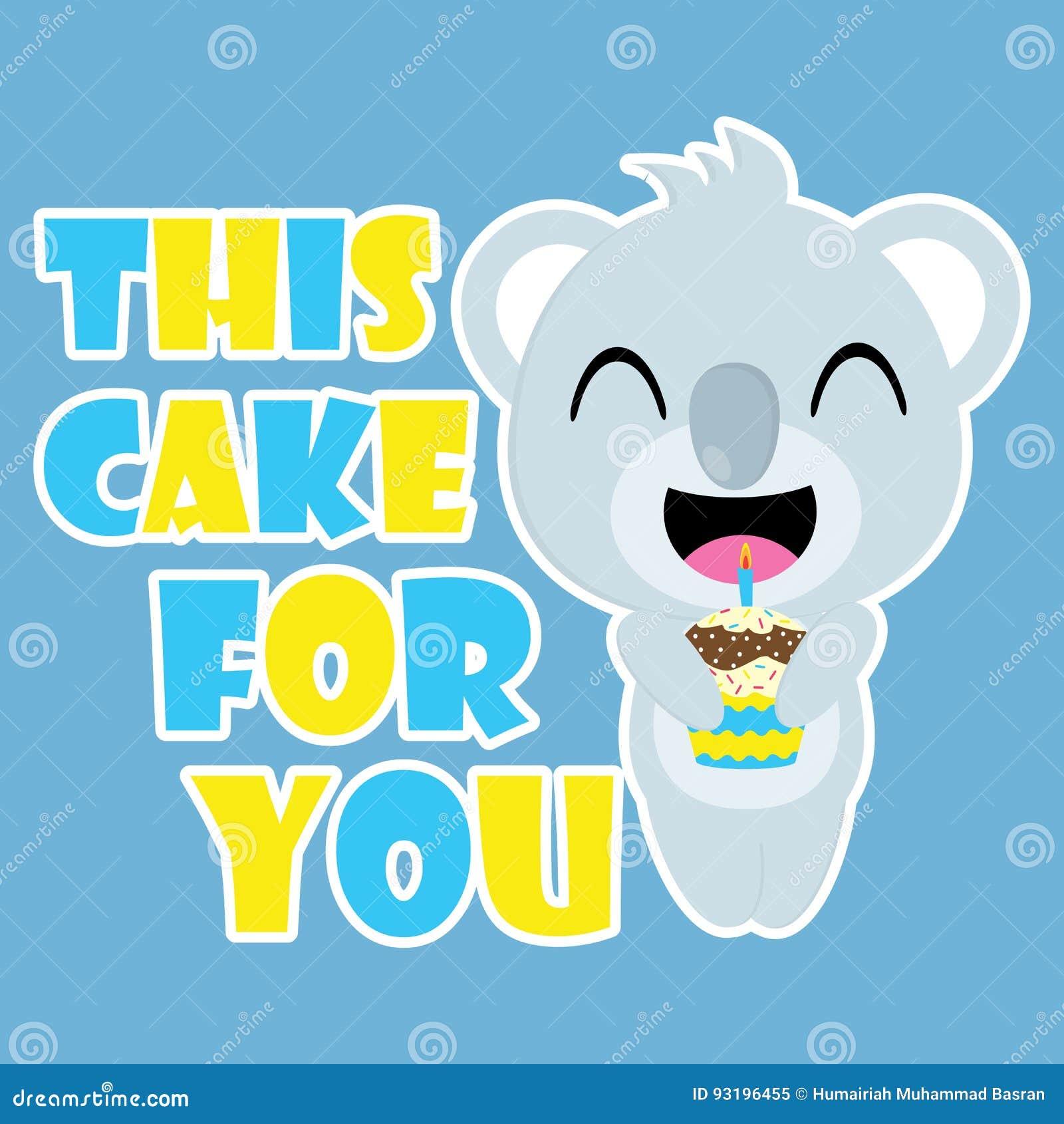 Le Koala Mignon Apporte La Bande Dessinée De Vecteur De Petit Gâteau