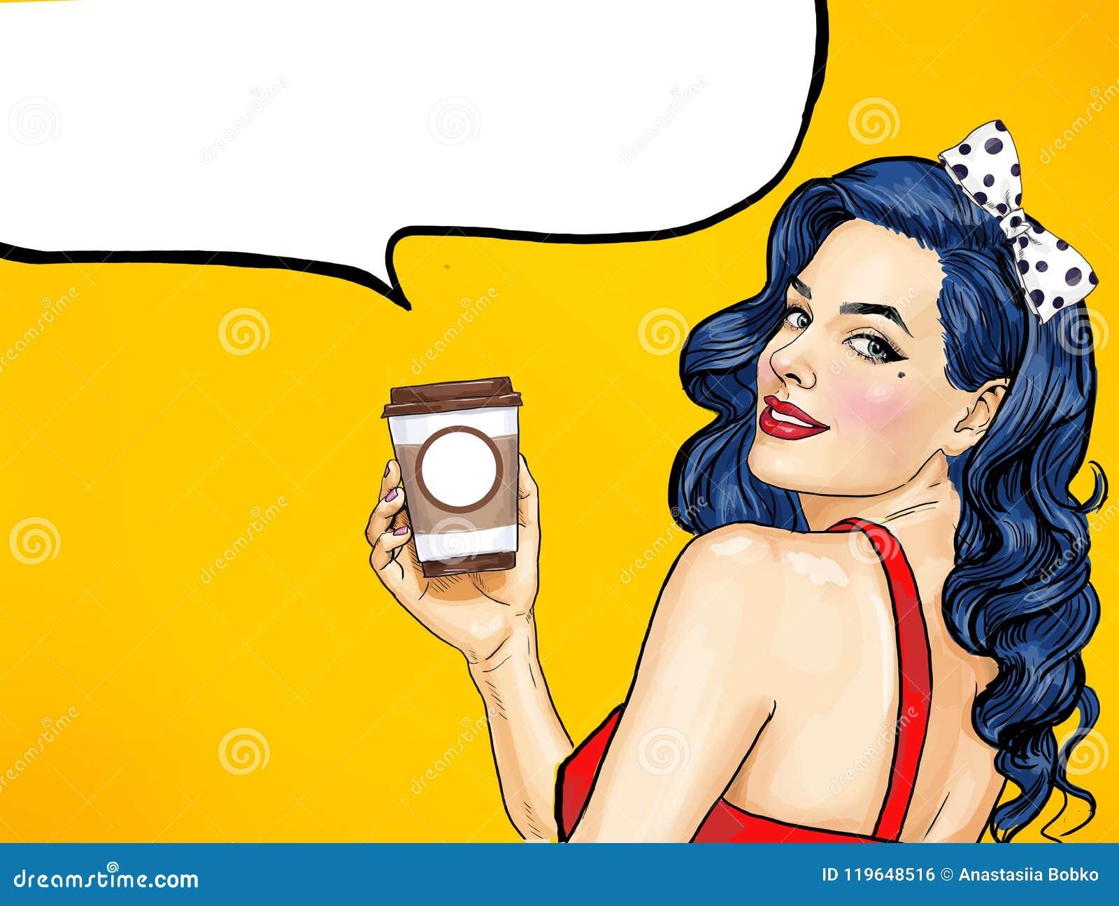 Le kvinnan för popkonst med kaffekoppen Advertizingaffisch- eller partiinbjudan med den sexiga flickan med överraskar framsidan
