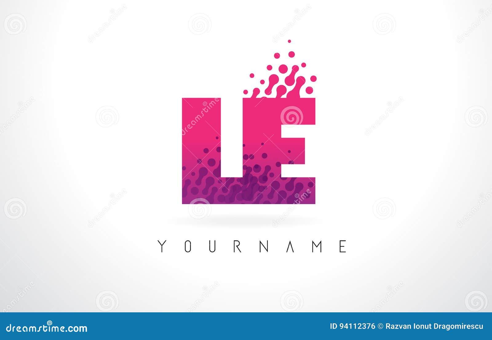 LE L E Letter Logo With Pink Purple Color And Particles Dots Des ...