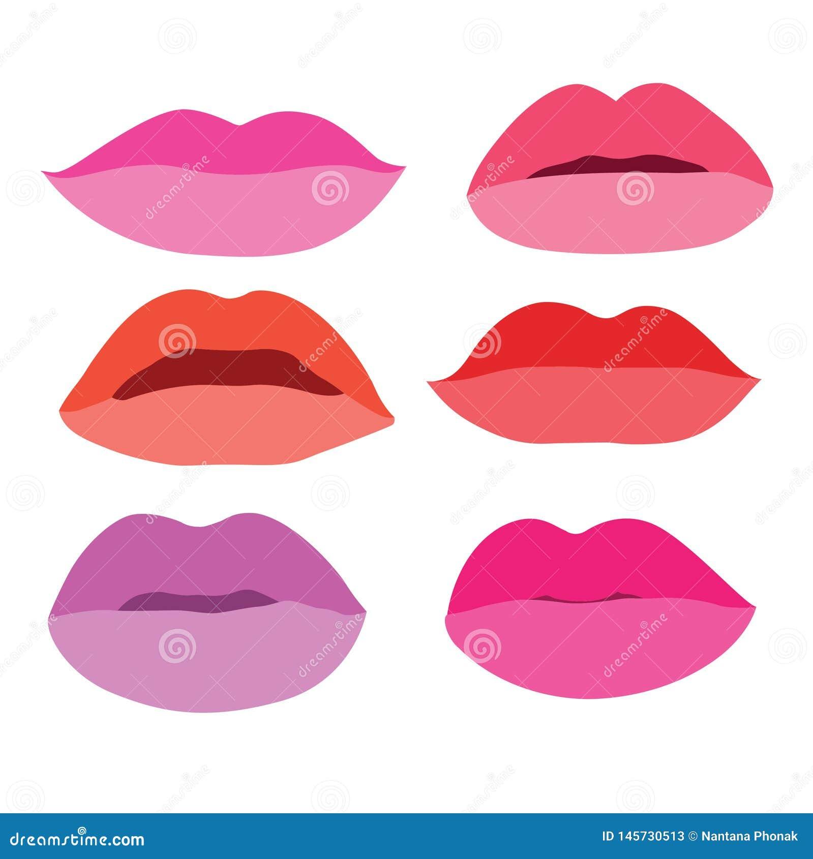 Le labbra della bocca si chiudono sulle tonalità differenti variopinte alla moda isolate elemento della raccolta di progettazione