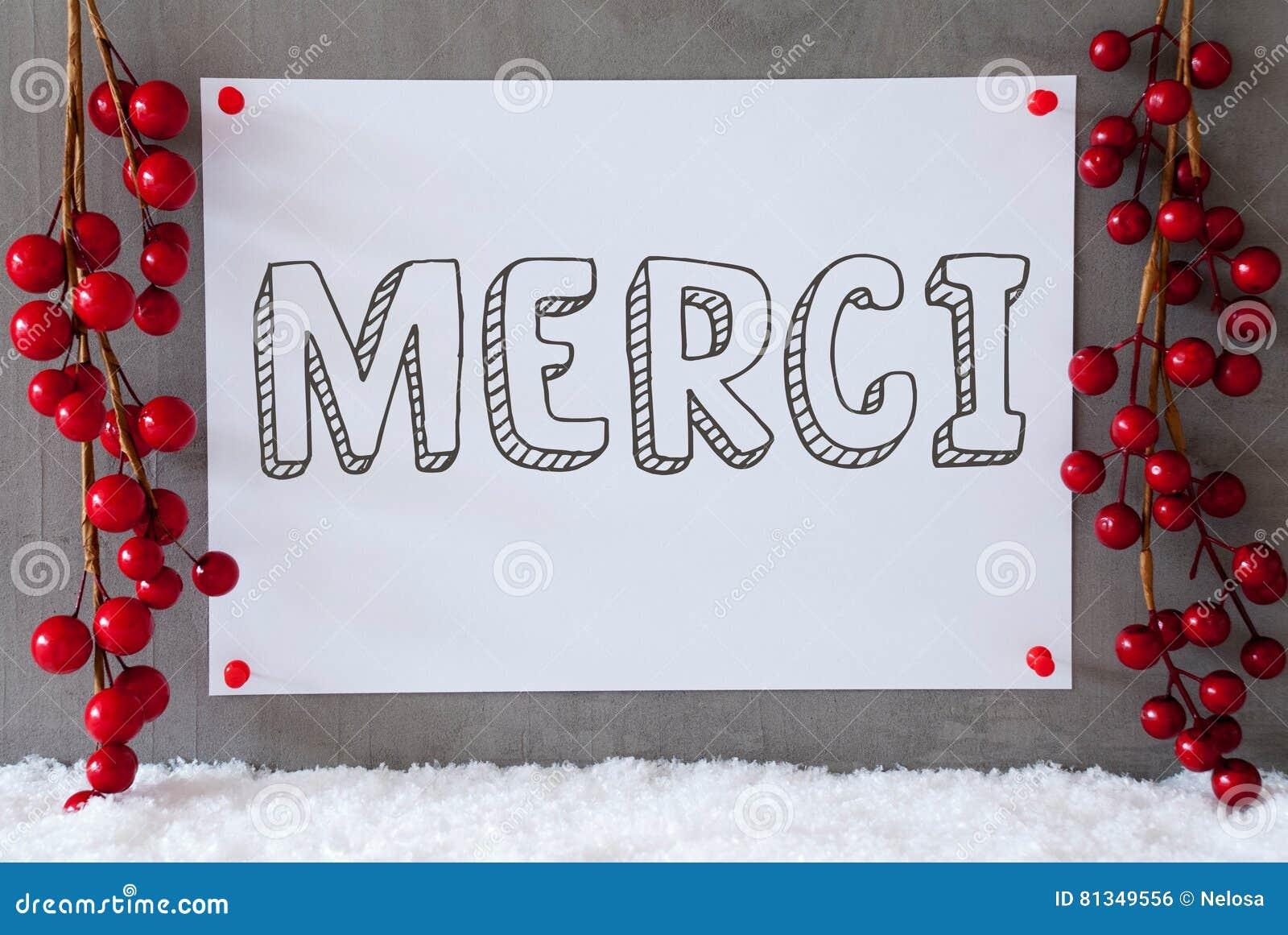 Le label, neige, décoration de Noël, moyens de Merci vous remercient