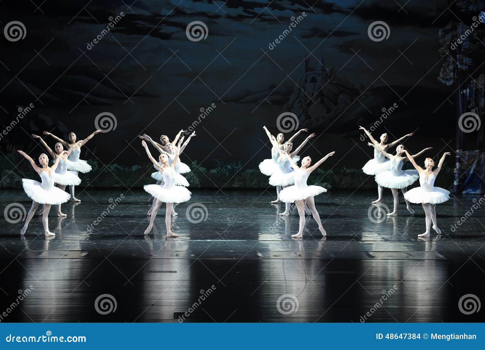 Le lac swan de famille-ballet de cygne