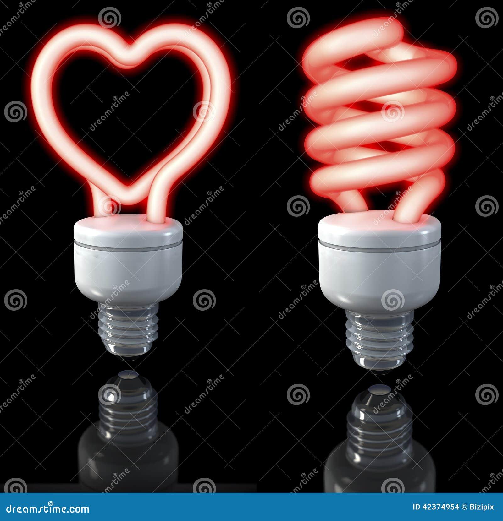 lampadina a fluorescenza : Le lampade fluorescenti, a forma di a spirale, cuore hanno modellato ...