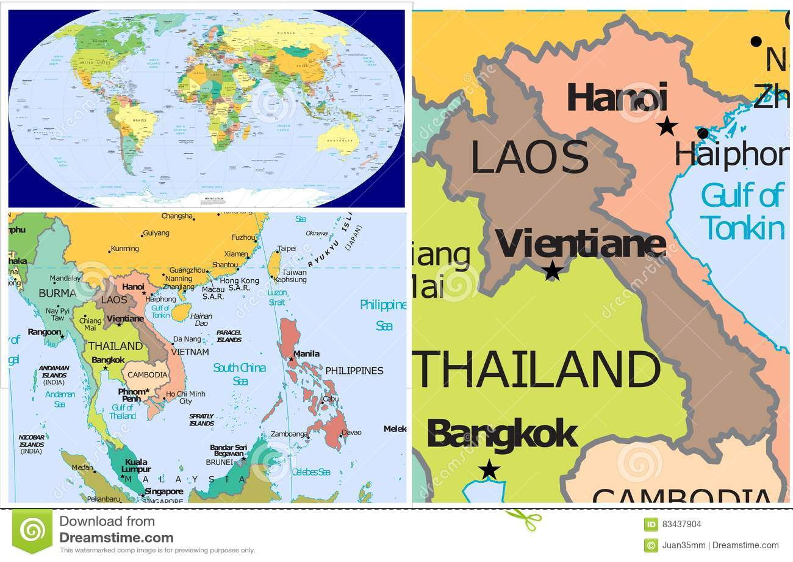 Carte Du Monde Laos.Le Laos Et Le Monde Illustration Stock Illustration Du