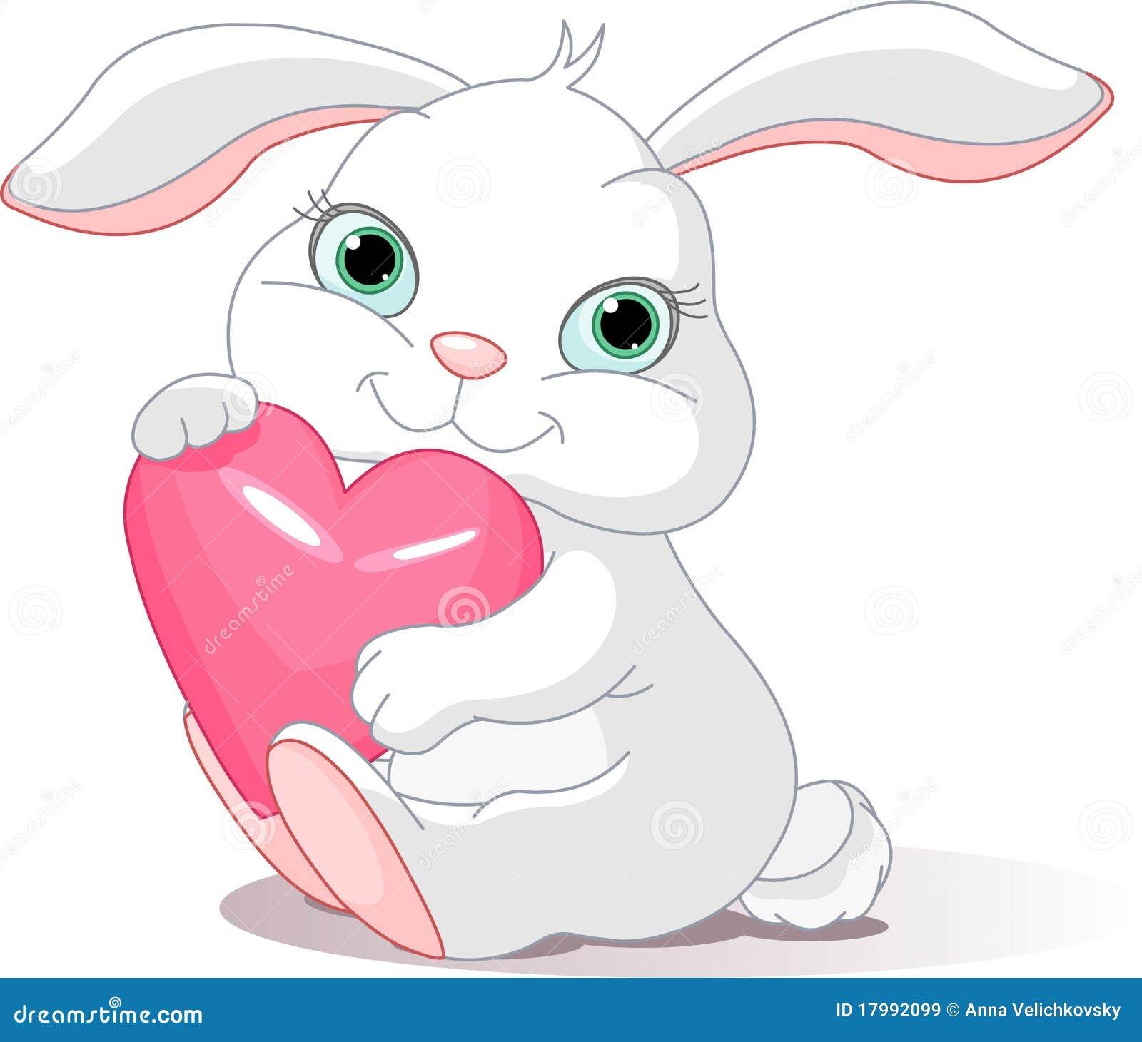 Le lapin retient le coeur d amour
