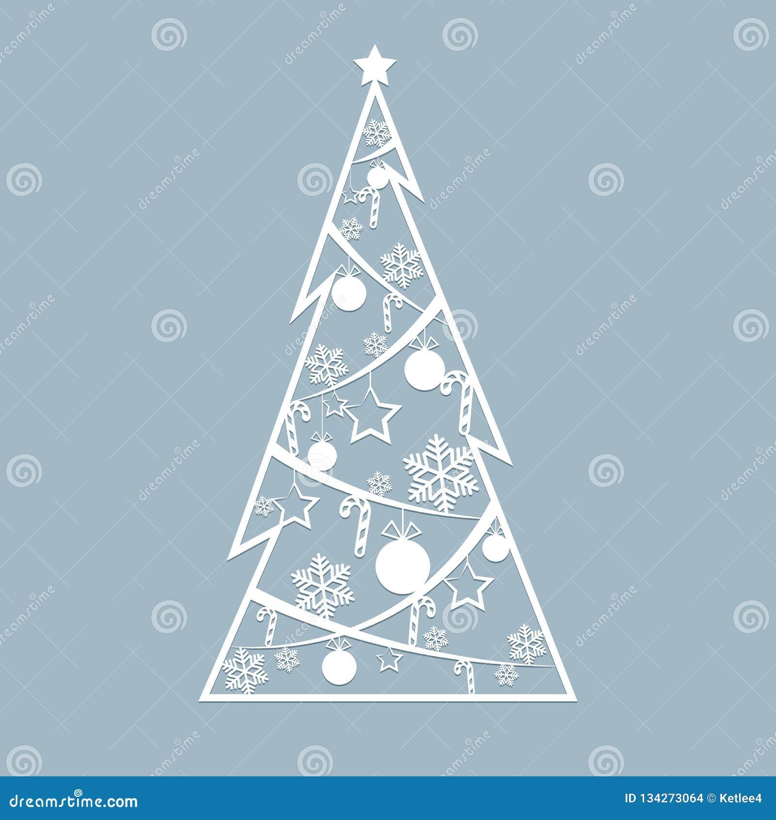 Le Laser De Pochoir A Coupé Pour L'arbre à Jour De Sapin De Noël