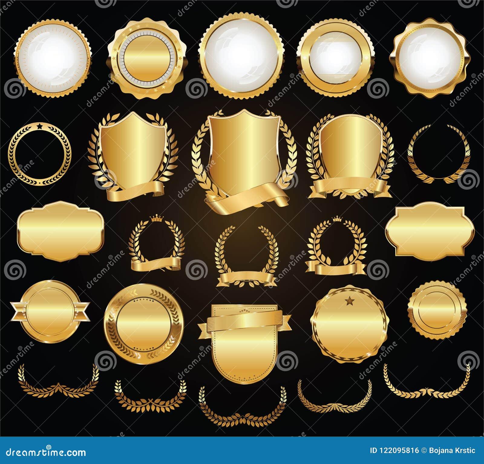 Le laurier d or de boucliers tresse et badges la collection