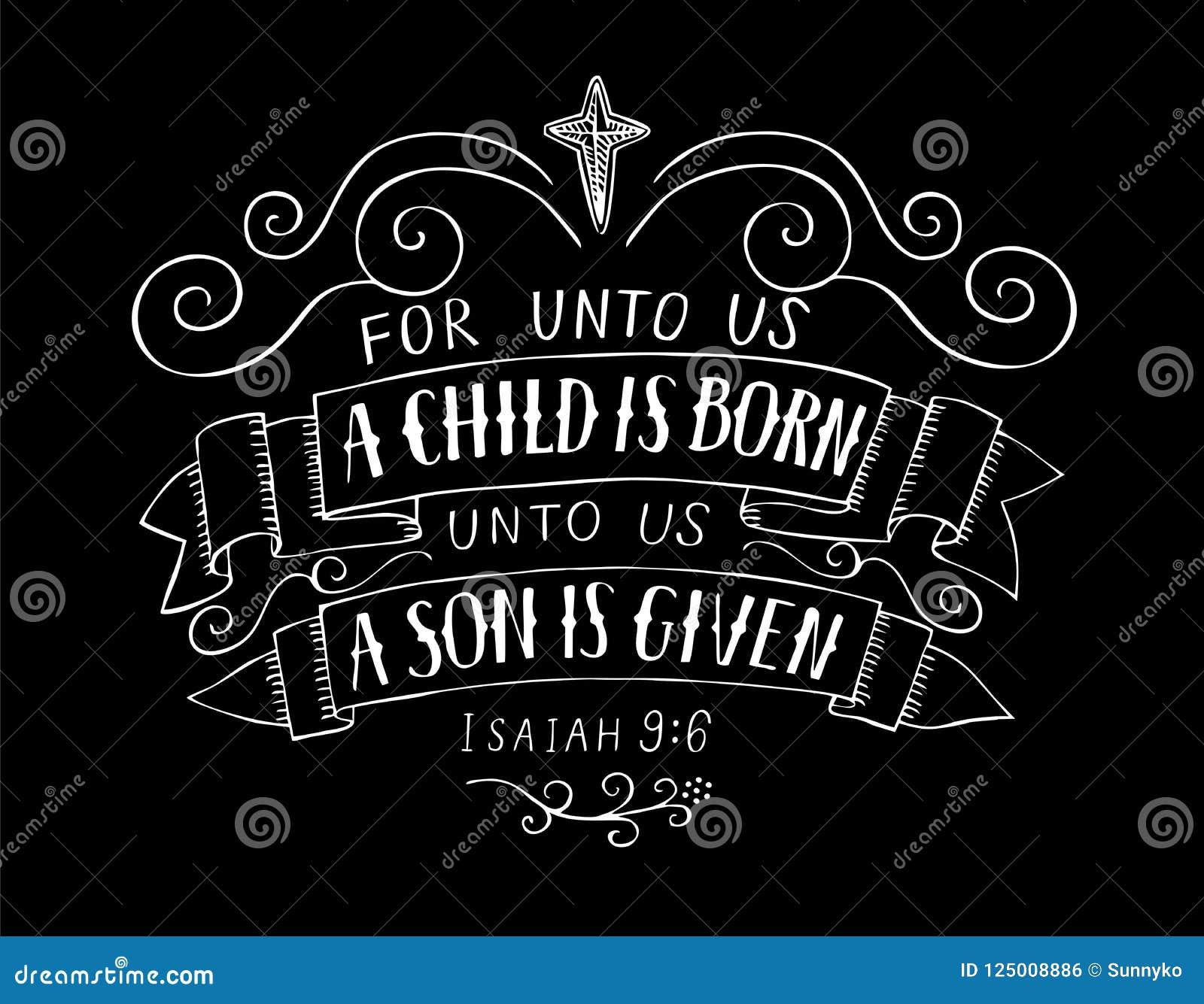 Le lettrage de Noël de bible pour à nous un enfant est né sur le fond noir