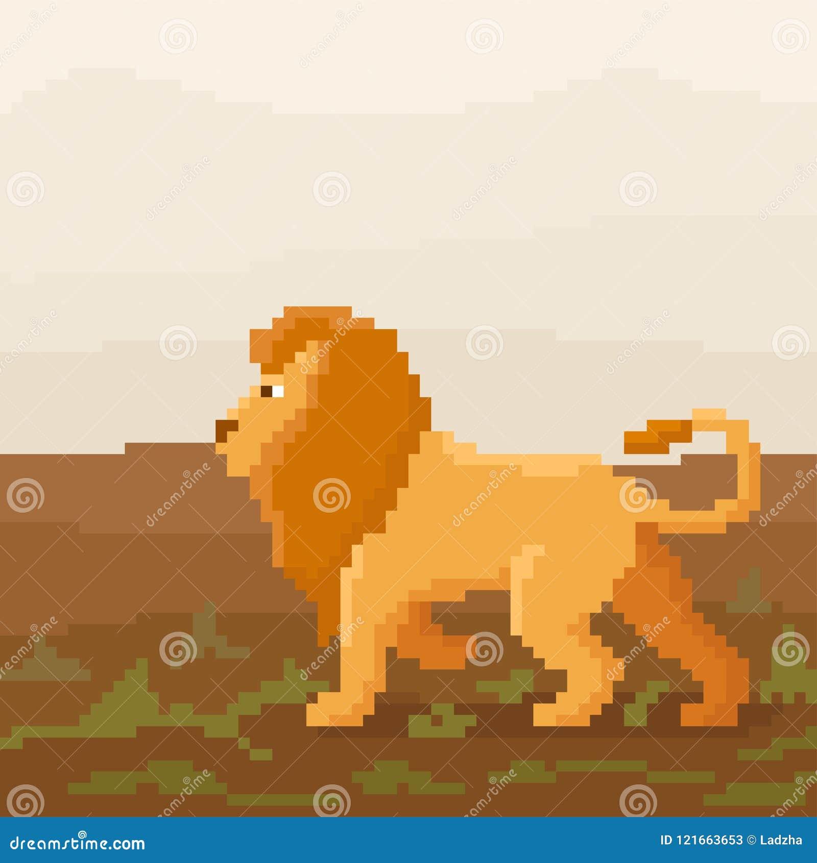 Le Lion Mignon De Pixel Marche Sur Une Savane Illustration
