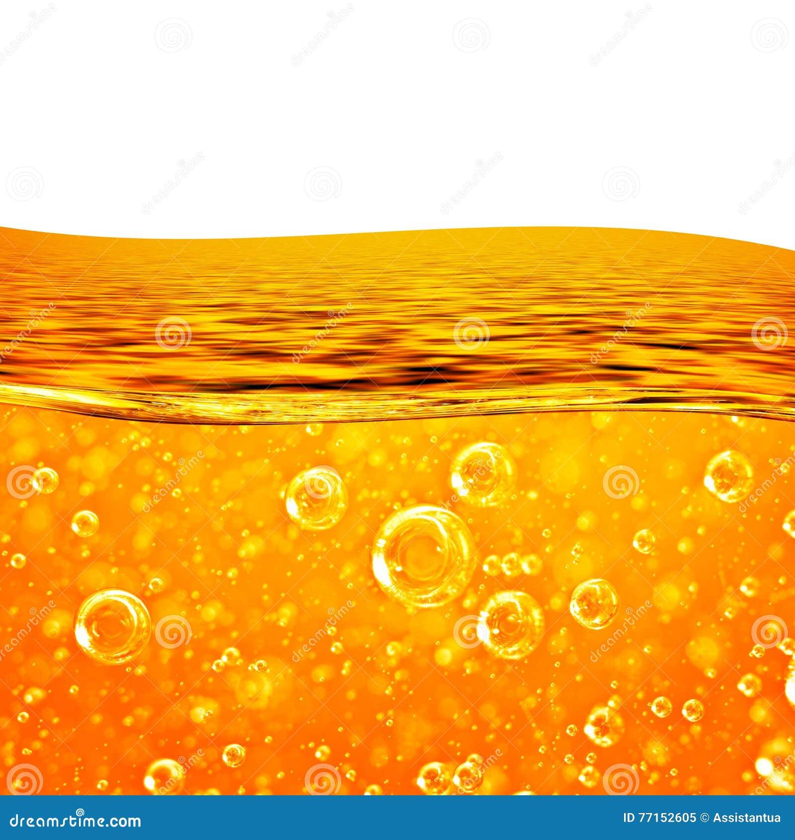 Le liquide coule vague orange, mer, bulles d air en gros plan