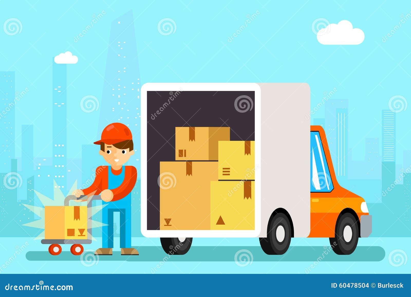 le livreur d chargent des bo tes de voiture de livraison illustration de vecteur image 60478504. Black Bedroom Furniture Sets. Home Design Ideas