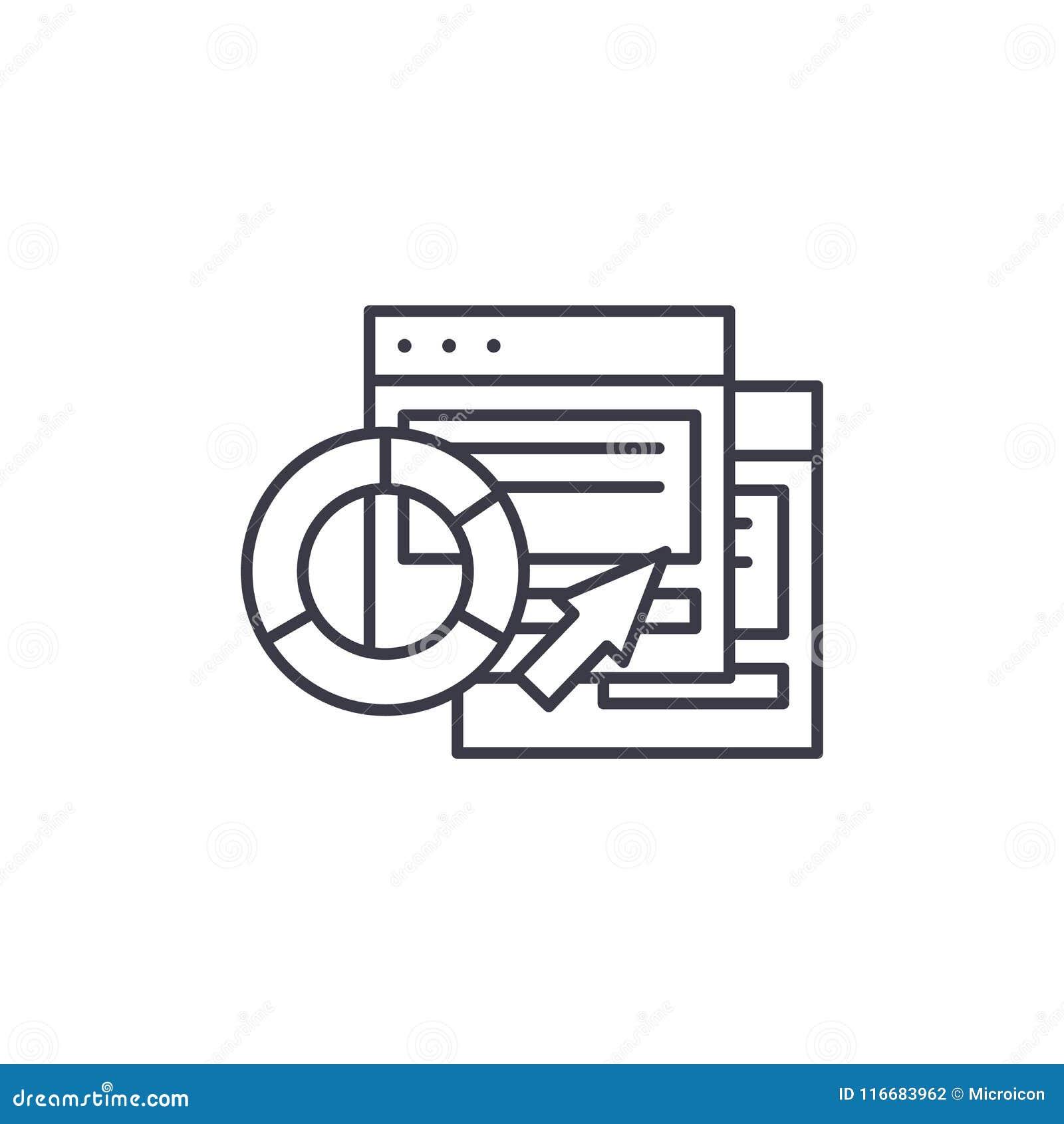 Le logiciel de CRM rapporte le concept linéaire d icône Le logiciel de CRM rapporte la ligne signe de vecteur, symbole, illustrat